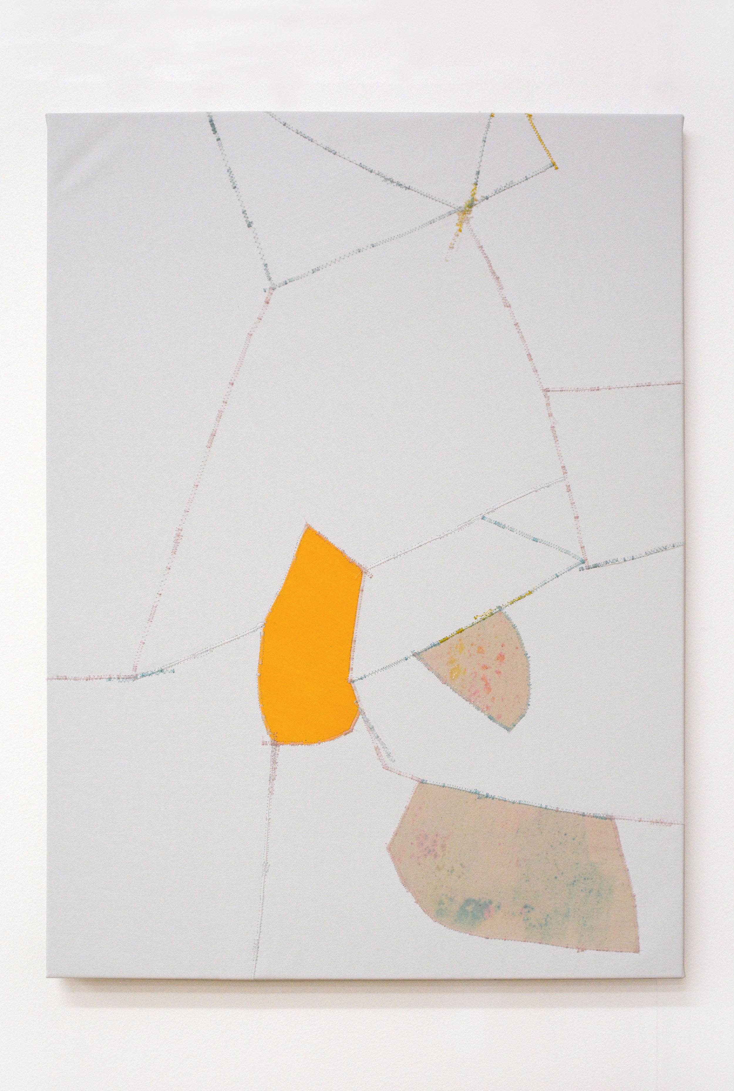 Crumble , oil and thread on canvas, 56 x 76 cm, 2016  .