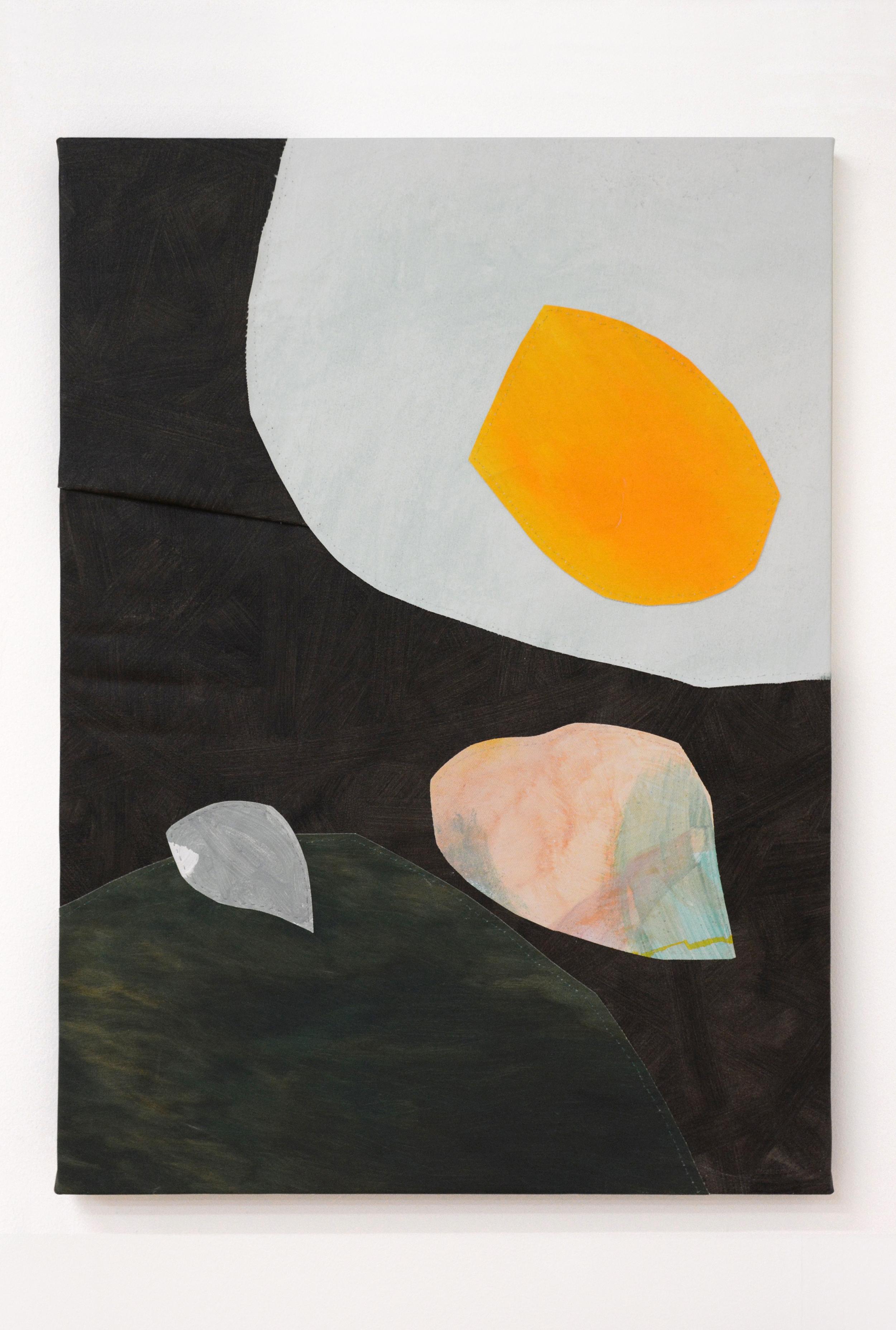 Eggscape , oil and thread on canvas, 56 x 76 cm, 2016  .