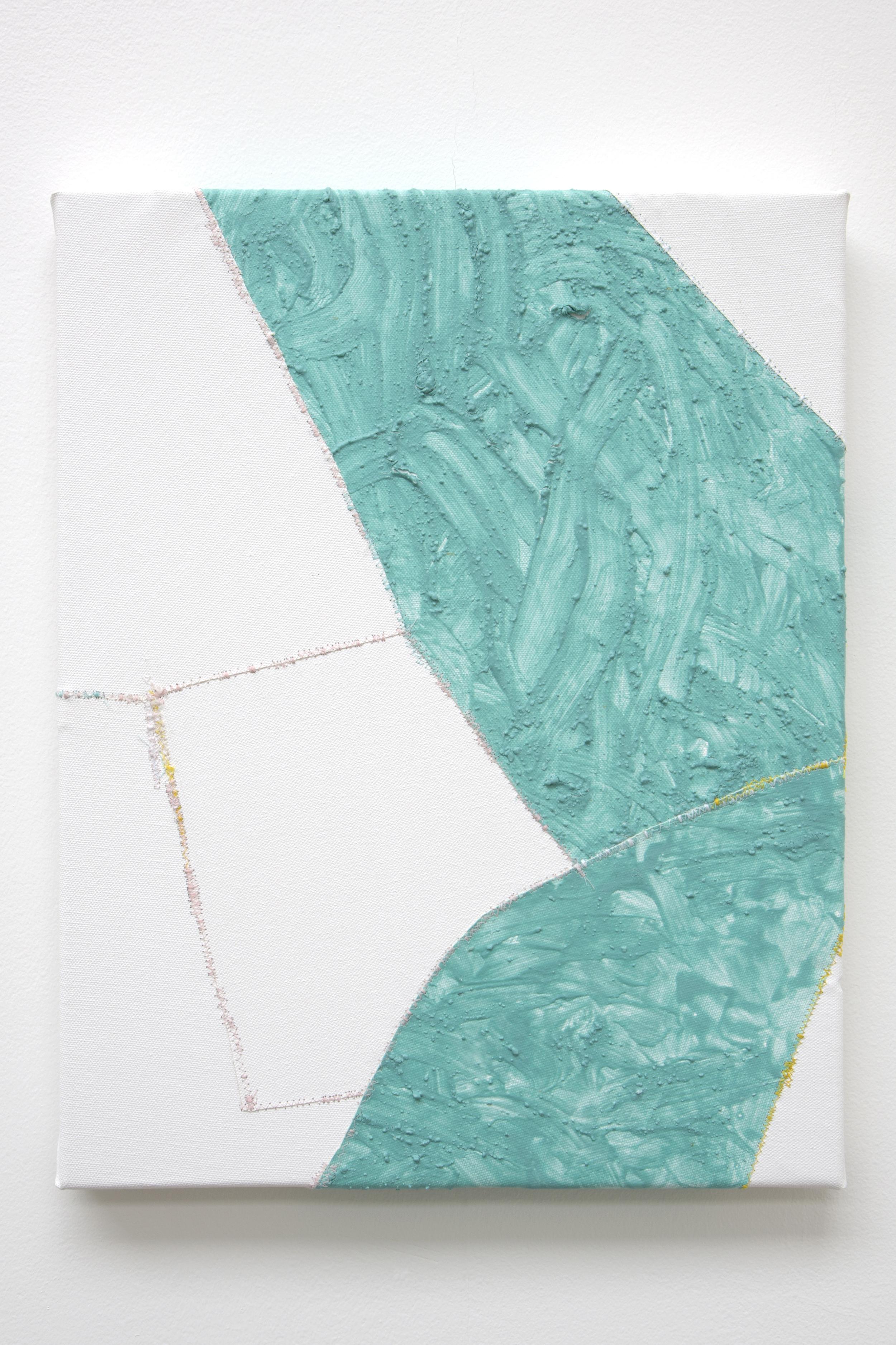 Alate , oil and thread on canvas, 36 x 46 cm, 2016  .