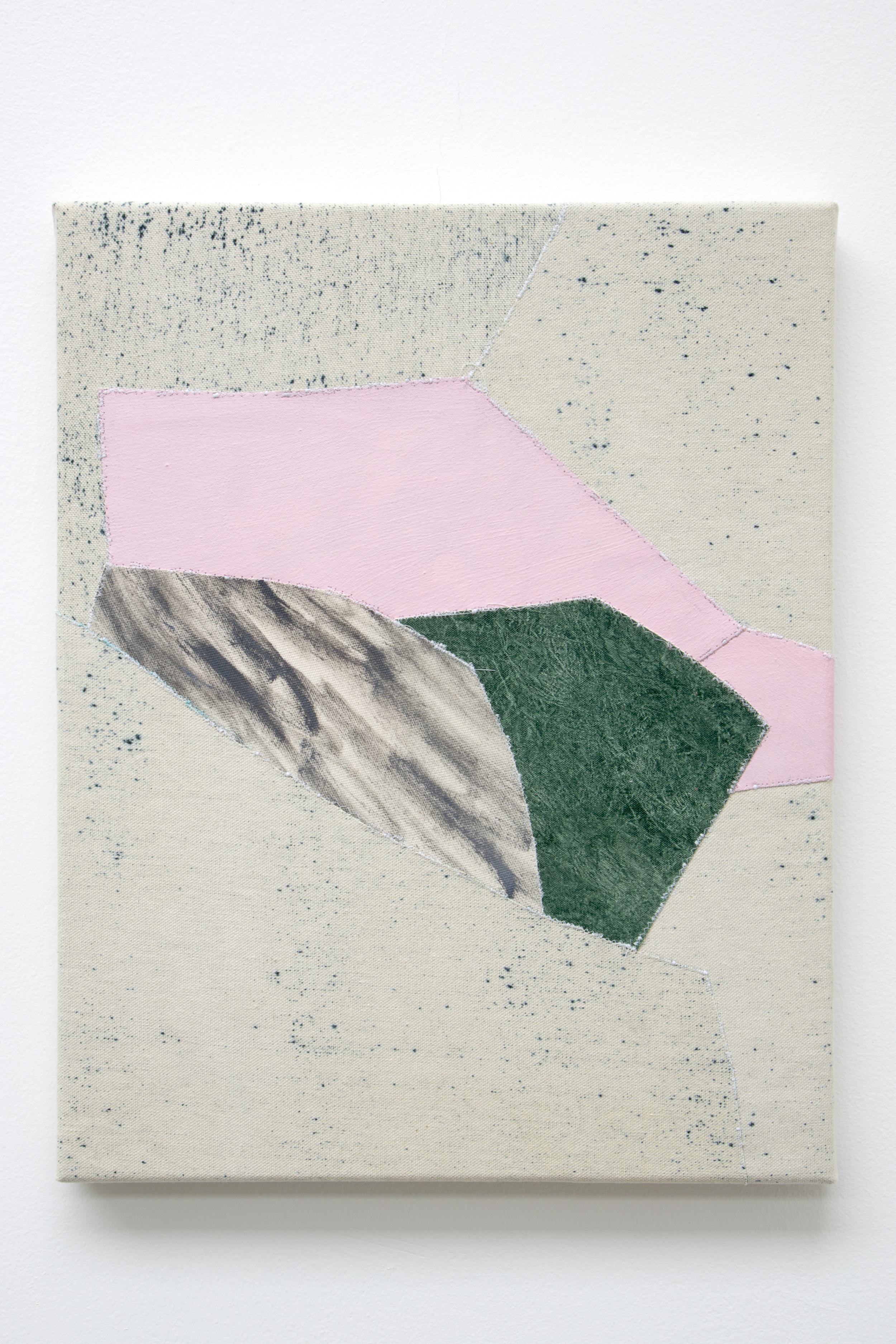 3 , oil and thread on canvas, 36 x 46 cm, 2016  .