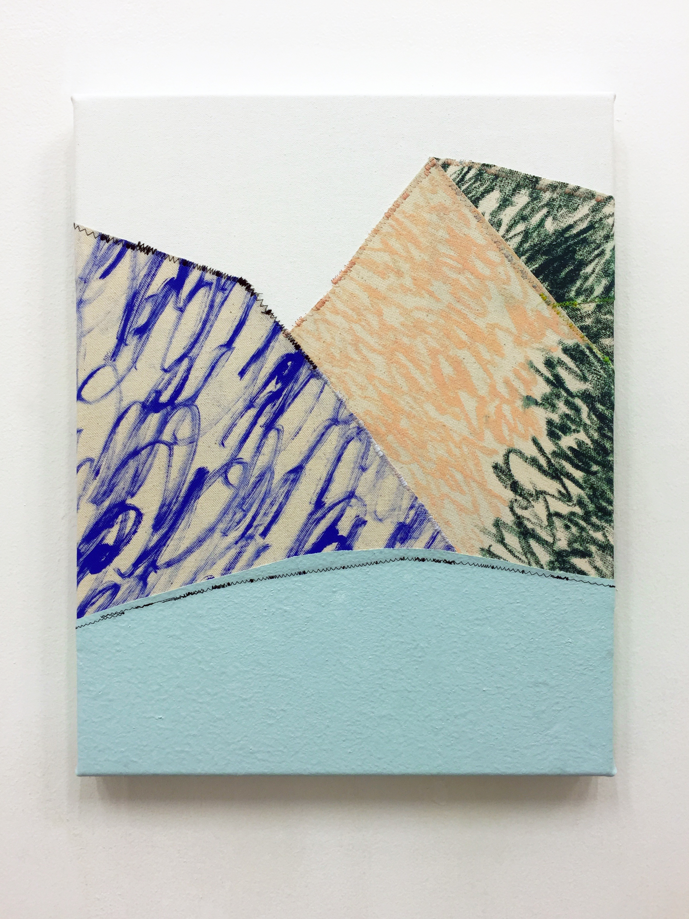 Brittle , Pigment, oil stick and thread on canvas, 36 x 46 cm, 2016  .