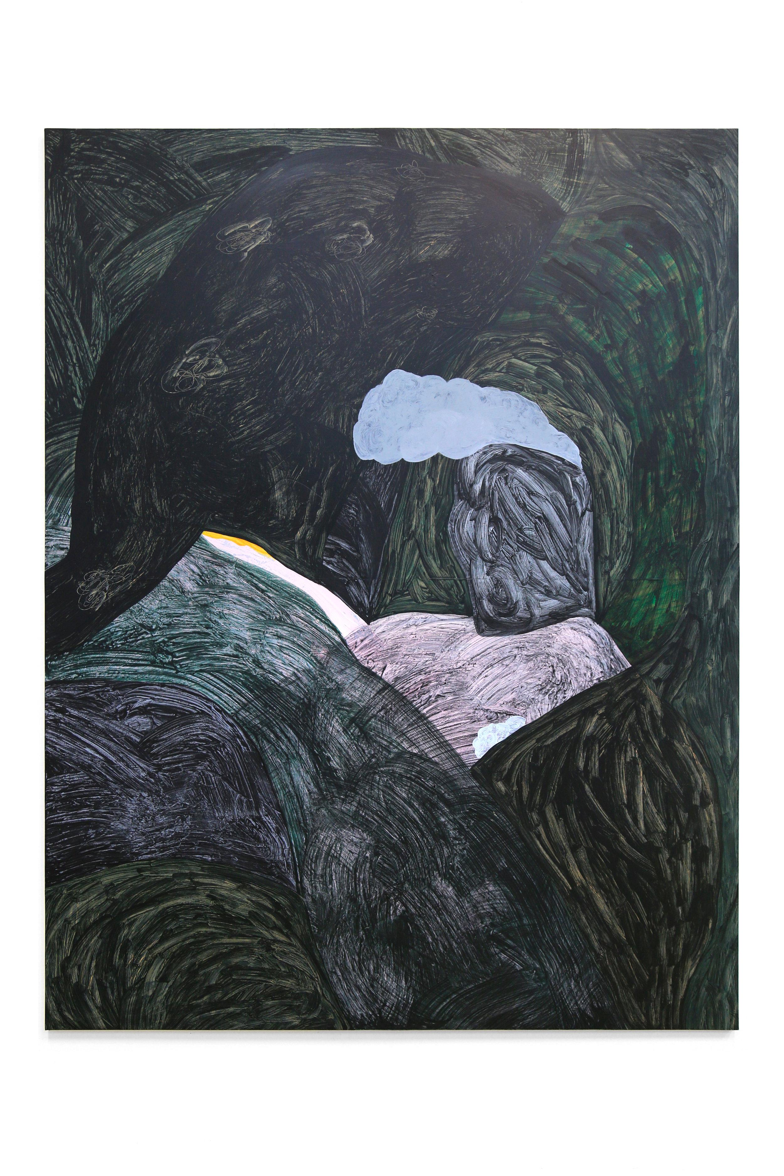 'Big Smoke', acrylic on wood panel, 170 x 120 cm, 2017.
