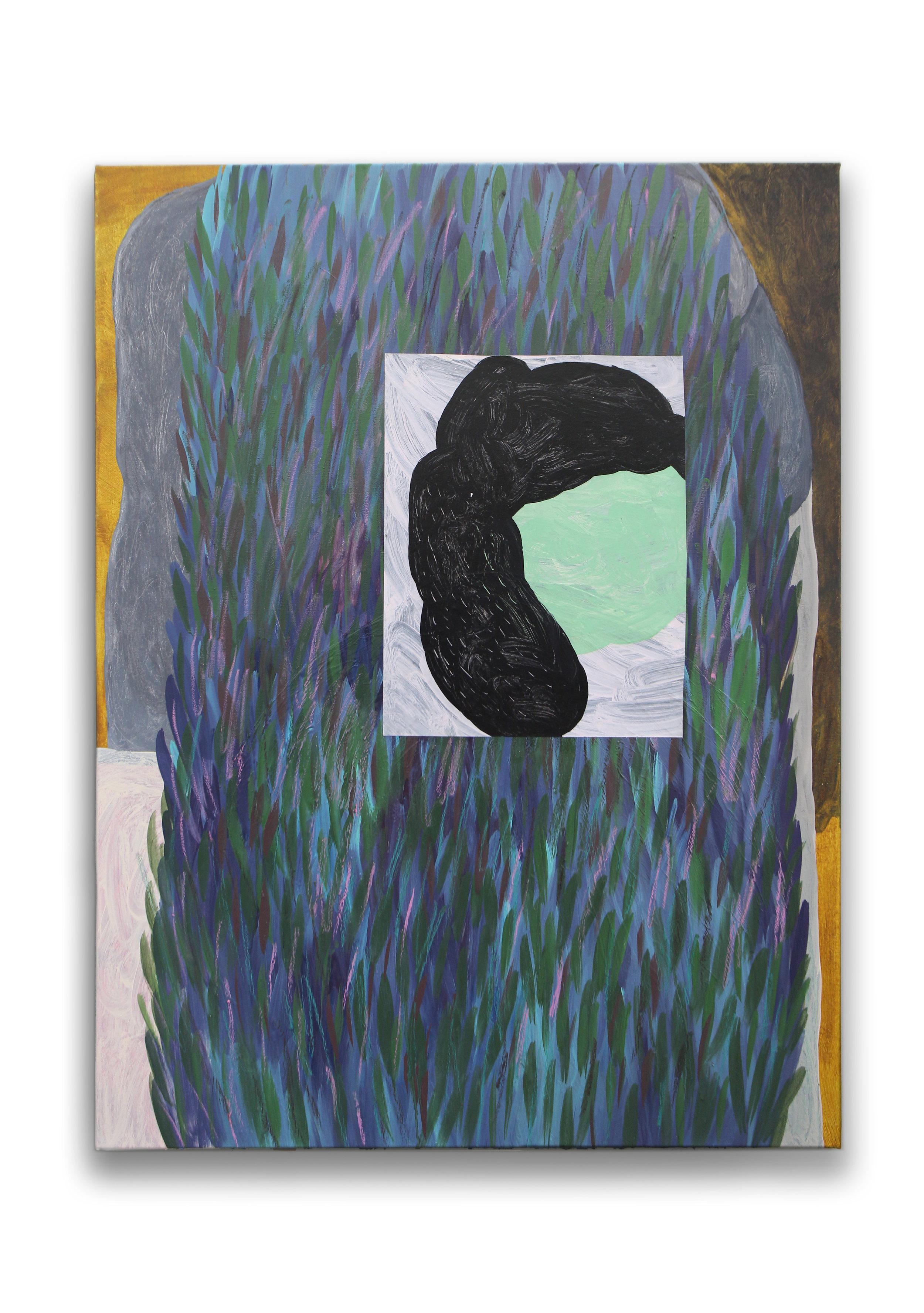 'Vertigo', oil, acrylic and paper on canvas, 101 x 76 cm, 2017.
