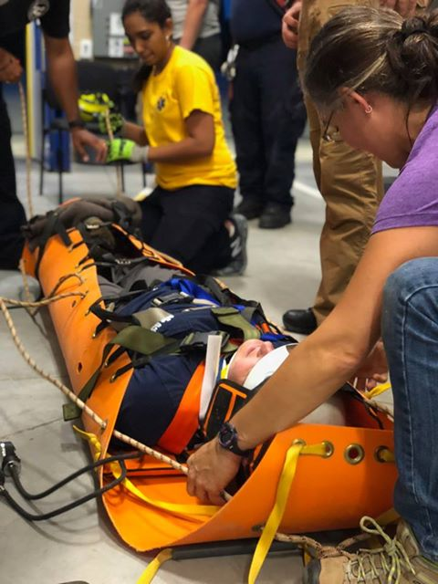 Members train to immobilizing an injured victim