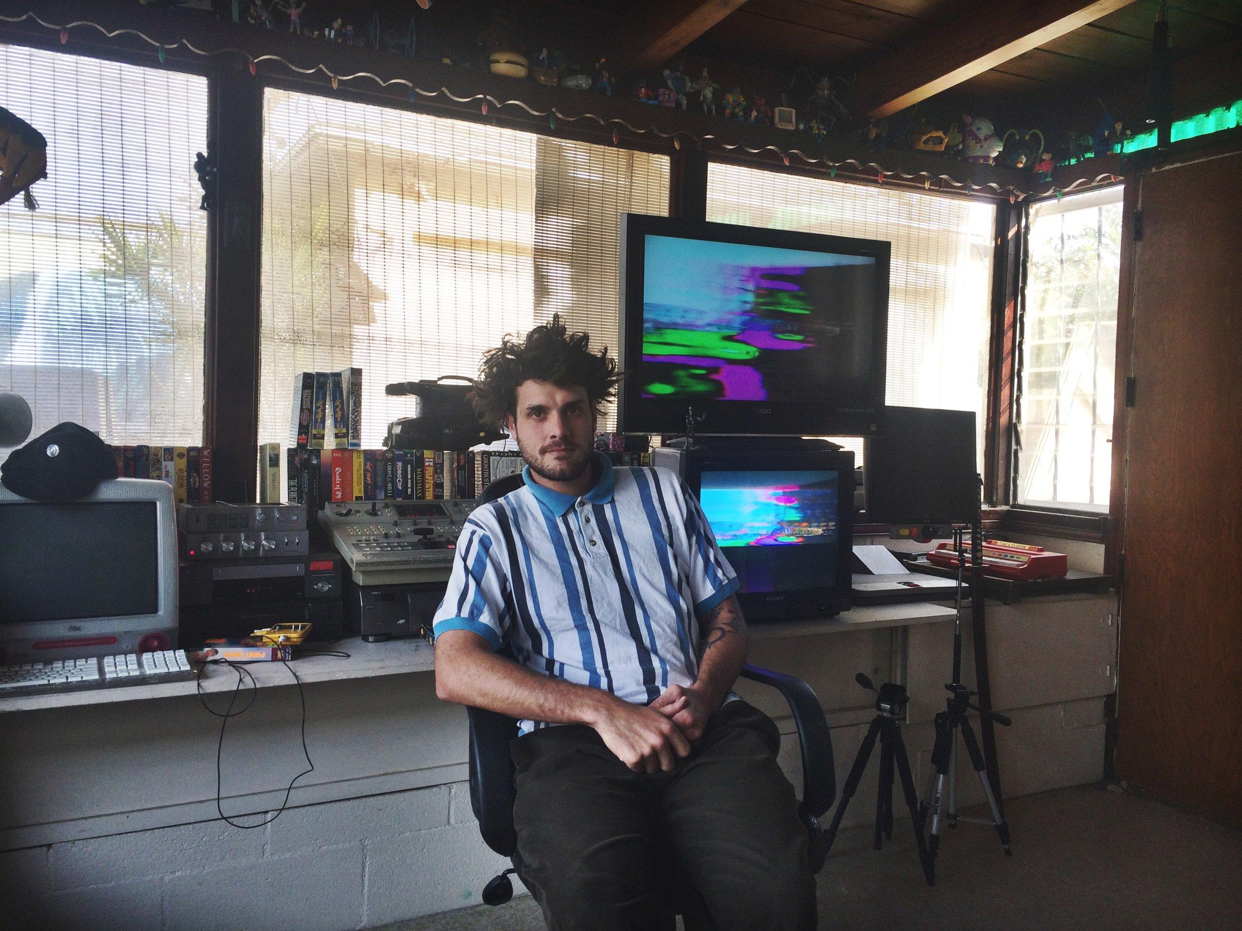 ARTIST BRYAN PETERSON IN HIS LOS ANGELES STUDIO.