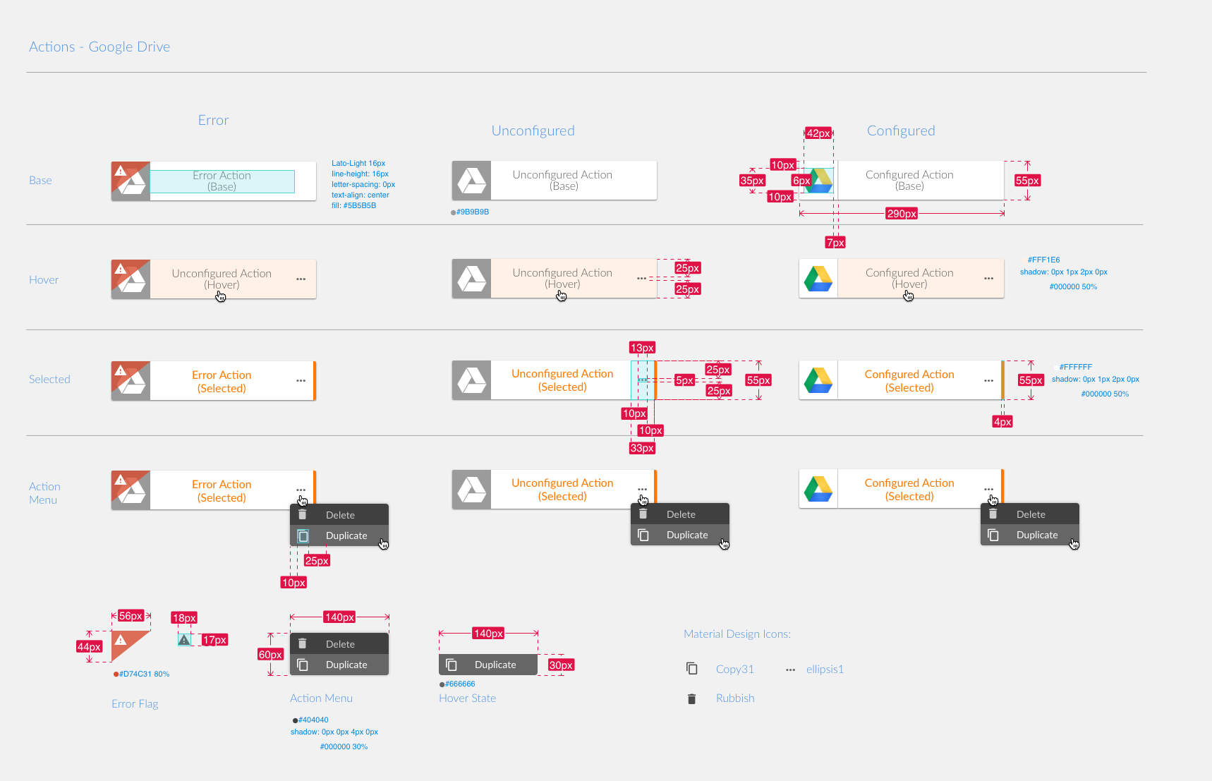 Specification sheet for the new Workflow action design