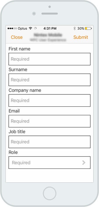The current mobile form features a heavy handed approach. Black labels, black key lines and some very tight padding between fields.