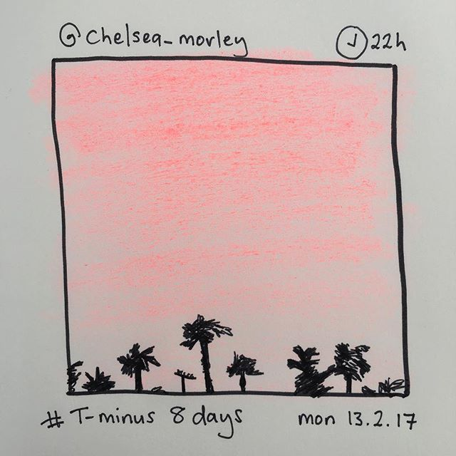 'T-minus 8 days' by @chelsea_morley #instasketch #insta_sketching #sunset #pink