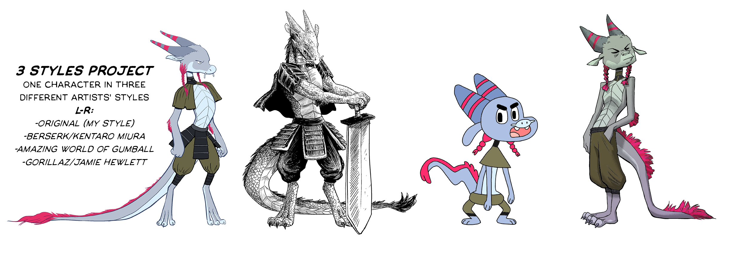 Design exercise translating a character into different artists' styles