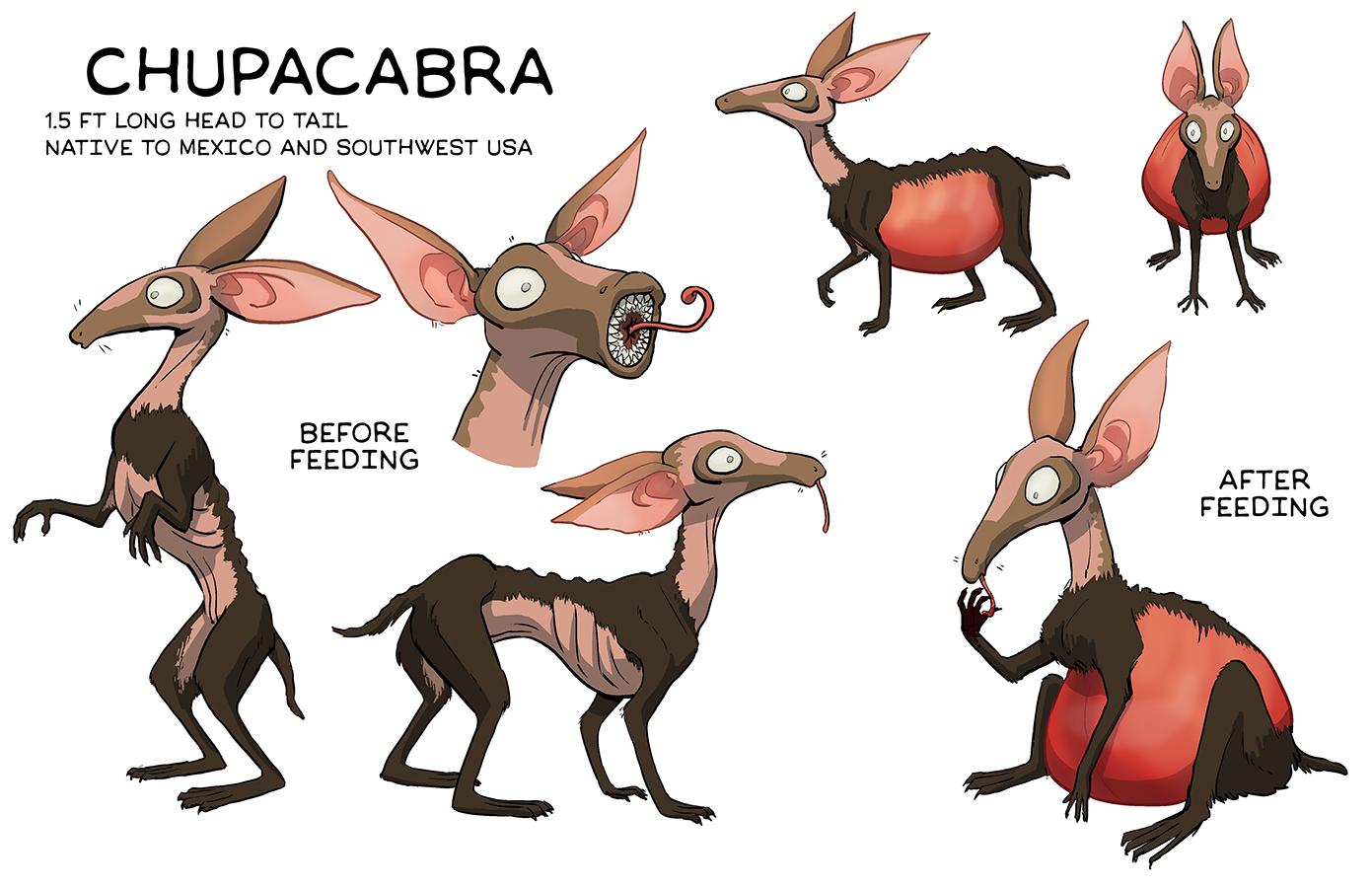 Creature design of a chupacabra as a harmless, mosquito-like pest
