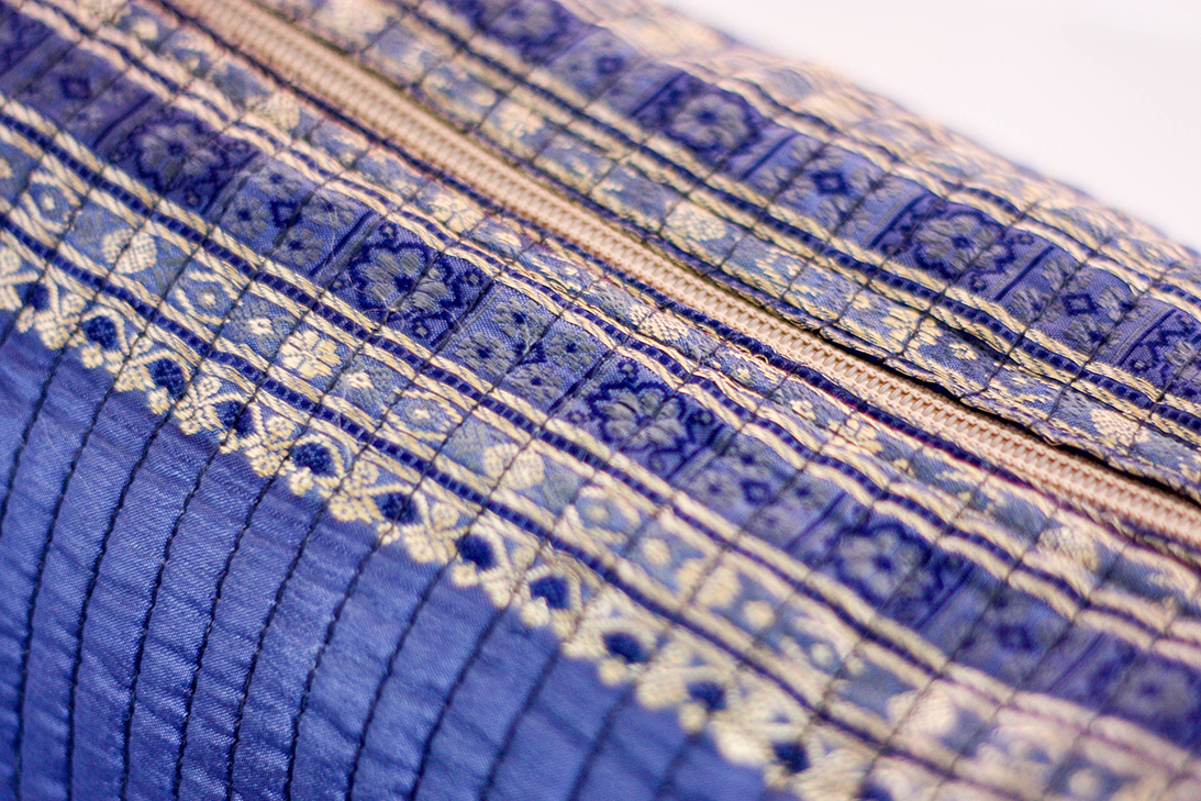 Purple Travel Case (Close-up) from Vintage Indian Sari | Made With a Purpose