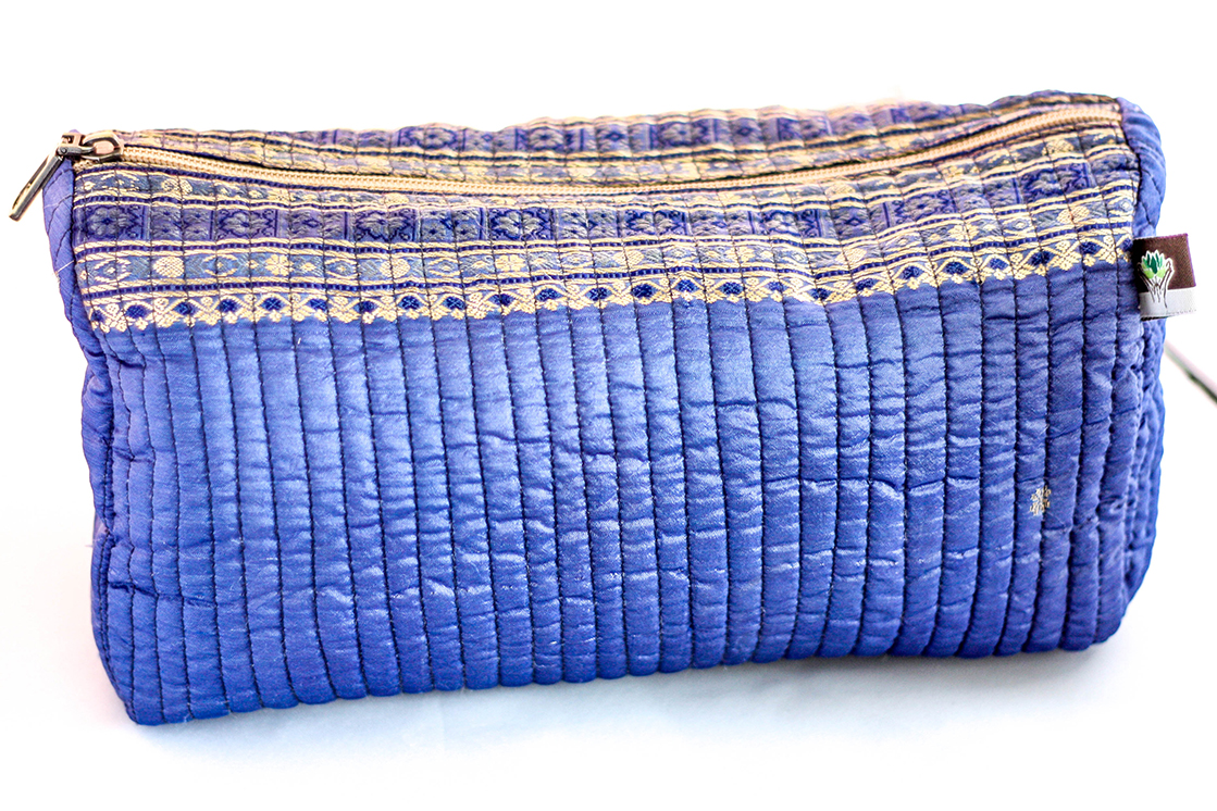 Purple Quilted Travel Case from Vintage Indian Sari | Made With a Purpose