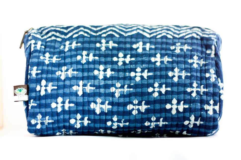 Teal Travel Case from Vintage Indian Printed Textiles | Made With a Purpose
