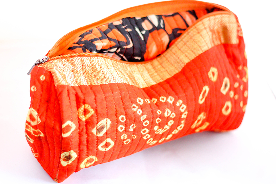 "Bright Orange ""Bandhni"" Tie Dye Travel Case from Vintage Indian Sari 