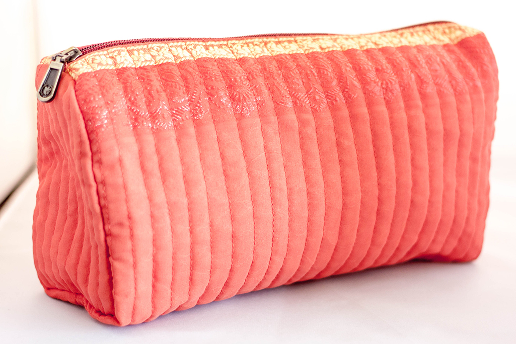 Coral Quilted Travel Case from Vintage Indian Sari | Made With a Purpose