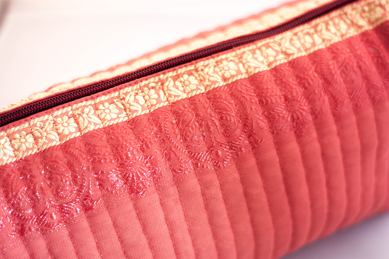 Coral Quilted Travel Case (Close-up) from Vintage Indian Sari | Made With a Purpose
