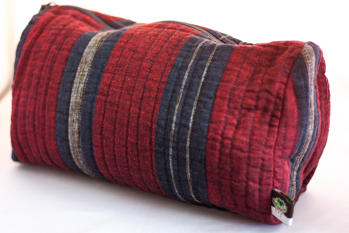 Striped Red/Navy Quilted Travel Case from Vintage Indian Textiles | Made With a Purpose