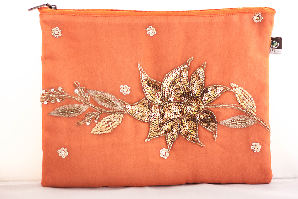 Orange Embellished Wallet from Vintage Indian Sari | Made With a Purpose