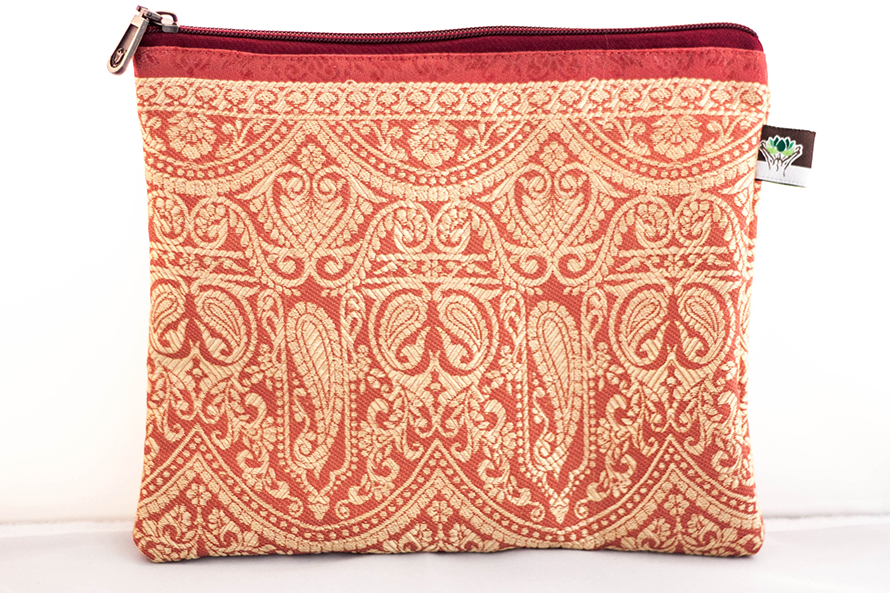 Red/Gold Paisley Printed Wallet from Vintage Indian Textiles | Made With a Purpose