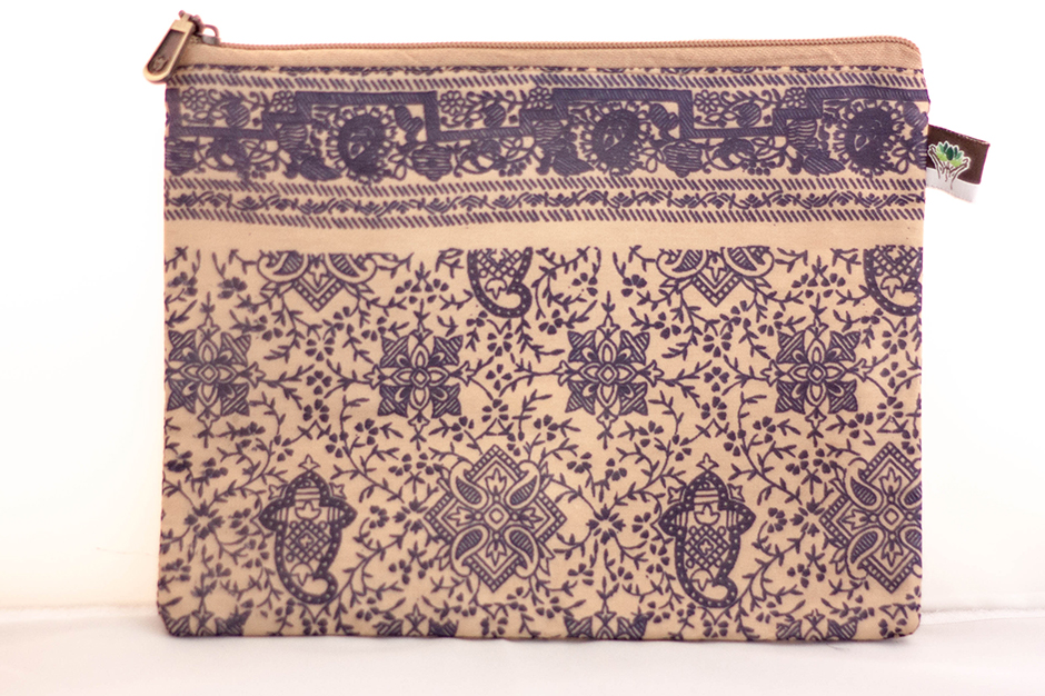 Navy/Tan Paisley Printed Wallet from Vintage Indian Textiles | Made With a Purpose