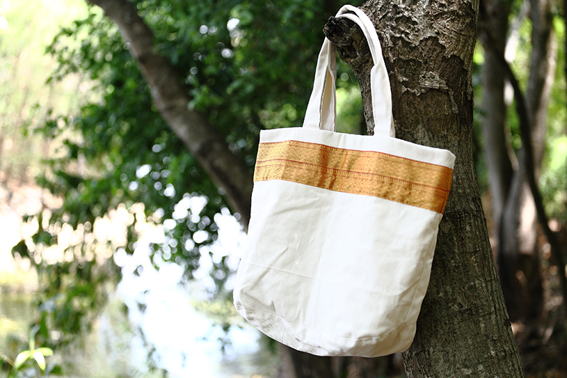 Gold Stripe Tote from Vintage Indian Textiles | Made With a Purpose