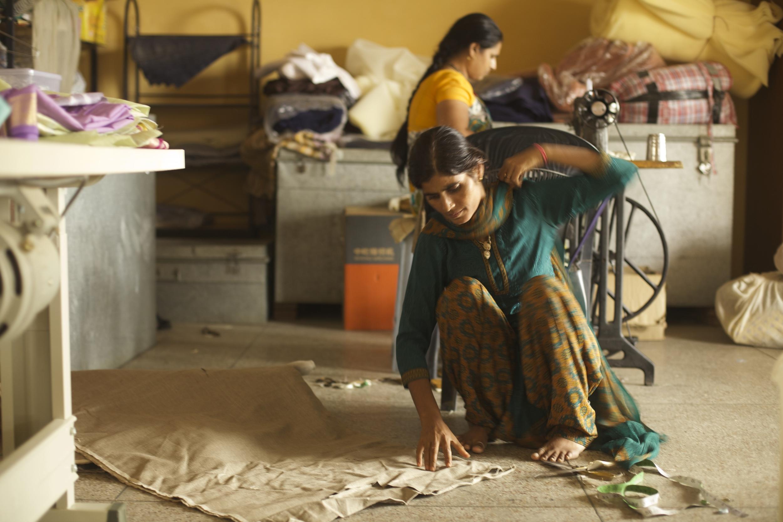 Mamta andNeetu in the makings of a bag.
