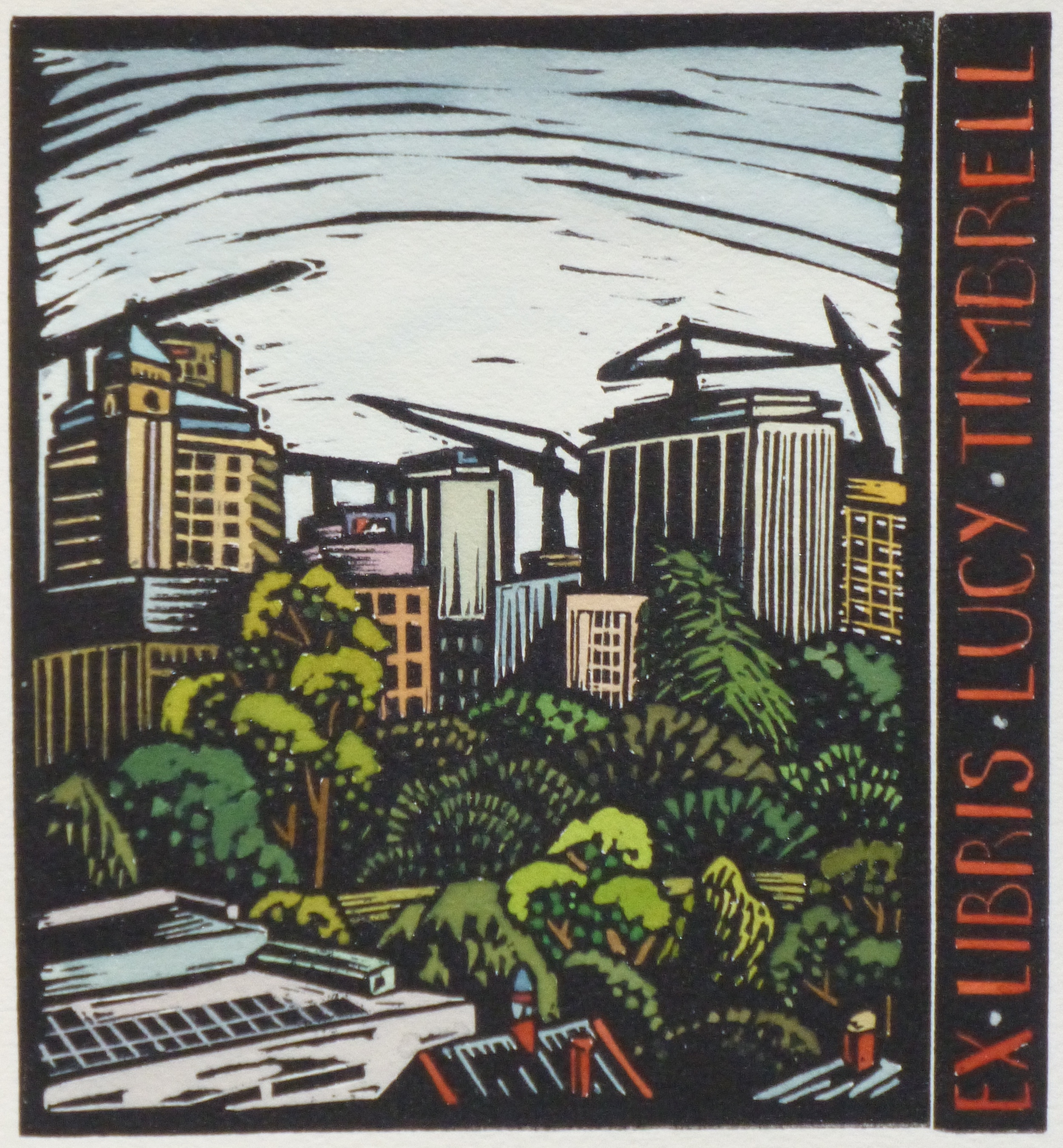 Ex Libris Lucy Timbrell   Hand coloured bookplate, 2013  Edition of 3  Image size: 15 cm x 14 cm  Paper size: 28.5 cm x 20 cm  Not for sale   Judged the Best Australian Relief Bookplate in the  Australian Bookplate Design Award,  2013