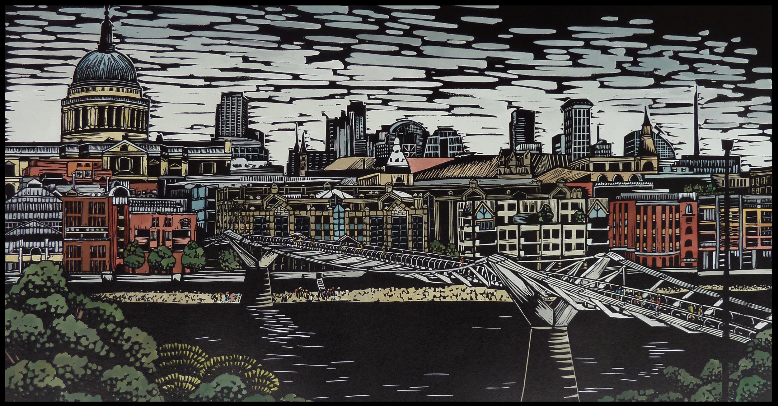 London City: Across the Millennium Bridge   Hand coloured linocut, 2014  Edition of 4  Image size: 46 cm x 86 cm  Paper size: 70 cm x 100 cm  SOLD OUT   London City: Across the Millennium Bridge  reflects the history and complexity of the City of London. The Thames continues to flow through even as new structures are added: a constant in an ever evolving cityscape.