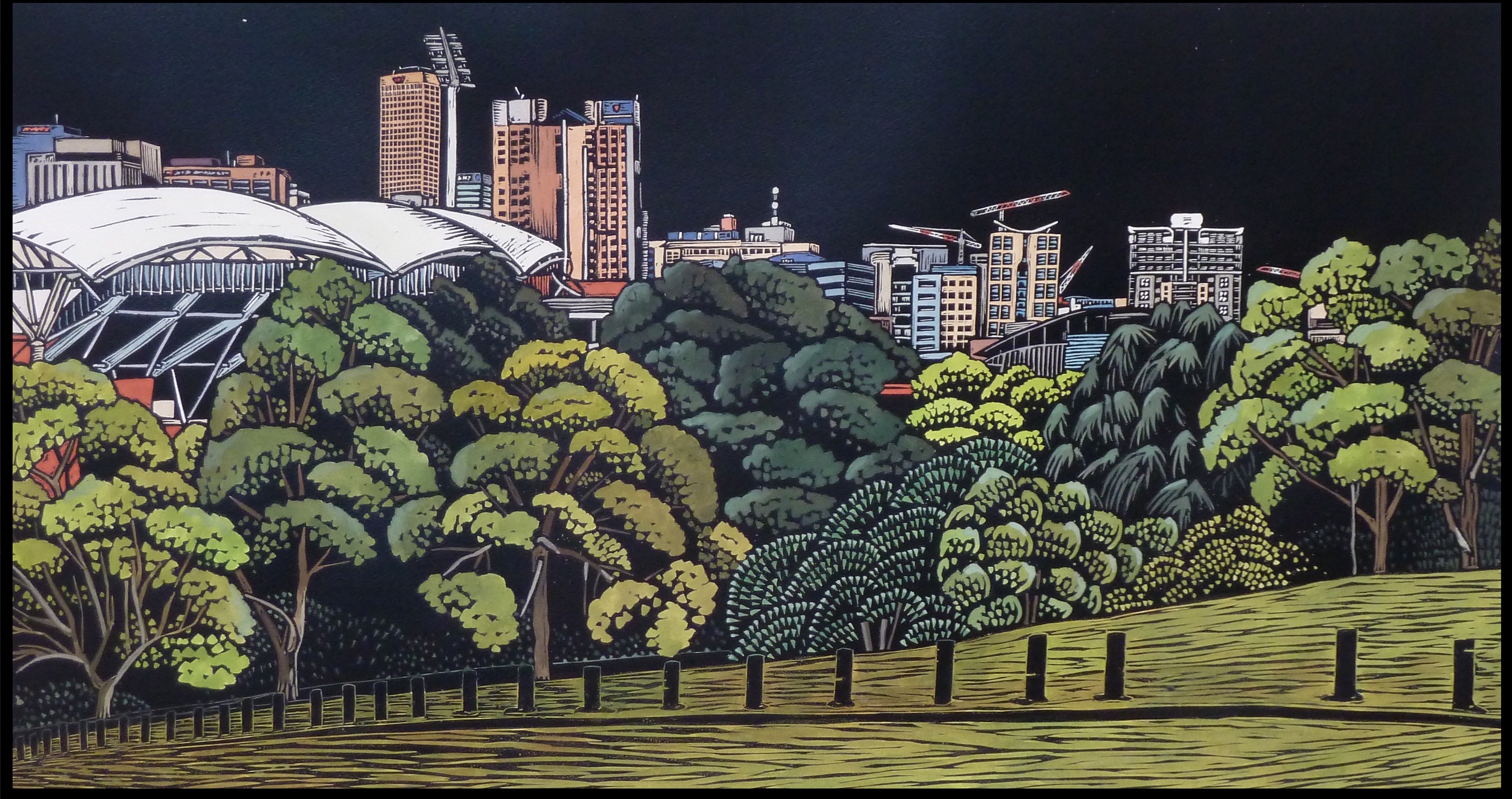 Adelaide City and the Park Lands: Colonel Light's Vision   Hand coloured linocut, 2013  Edition of 4  Image size: 46 cm x 86 cm  Paper size: 70 cm x 100 cm  SOLD OUT   Adelaide City and the Park Lands: Colonel Light's Vision  explores the spirit of Adelaide and the surrounding Park Lands. The piece reflects the complexity and uniqueness of the city; what is old and new, natural and man-made. As new buildings are constructed and old ones deconstructed, the Park Lands remain: a constant encircling a continuously evolving cityscape.