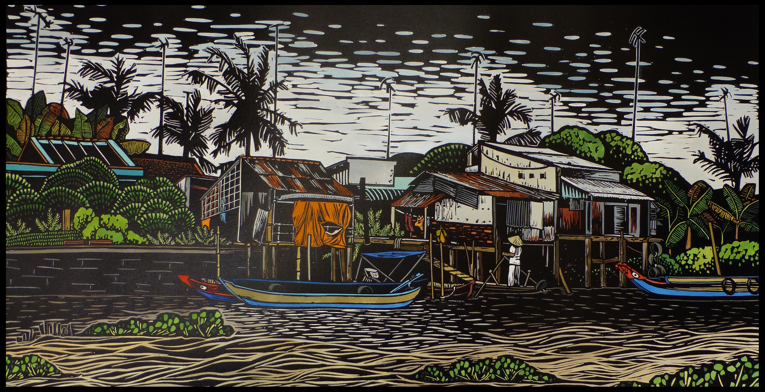 """Living on the Mekong Delta   Hand coloured linocut, 2015  Edition of 6  Image size: 46 cm x 86 cm  Paper size: 70 cm x 100 cm  $600                      Normal   0           false   false   false     EN-US   JA   X-NONE                                                                                                                                                                                                                                                                                                                                                                              /* Style Definitions */ table.MsoNormalTable {mso-style-name:""""Table Normal""""; mso-tstyle-rowband-size:0; mso-tstyle-colband-size:0; mso-style-noshow:yes; mso-style-priority:99; mso-style-parent:""""""""; mso-padding-alt:0cm 5.4pt 0cm 5.4pt; mso-para-margin:0cm; mso-para-margin-bottom:.0001pt; mso-pagination:widow-orphan; font-size:12.0pt; font-family:Cambria; mso-ascii-font-family:Cambria; mso-ascii-theme-font:minor-latin; mso-hansi-font-family:Cambria; mso-hansi-theme-font:minor-latin; mso-ansi-language:EN-US;}      For centuries, people have lived along the Mekong Delta. The river system in Vietnam has dramatically shaped and affected the lives of these people, who have adapted their entire lifestyle to suit living by the river. Boats are used for transport and conducting business upon the water, and from frequent flooding, stilt houses have evolved. Floods also bring the fertile soil that is so important to continue farming in the area, providing a livelihood for many people. However, life on the Mekong Delta can be precarious, often depending upon the whims of nature."""