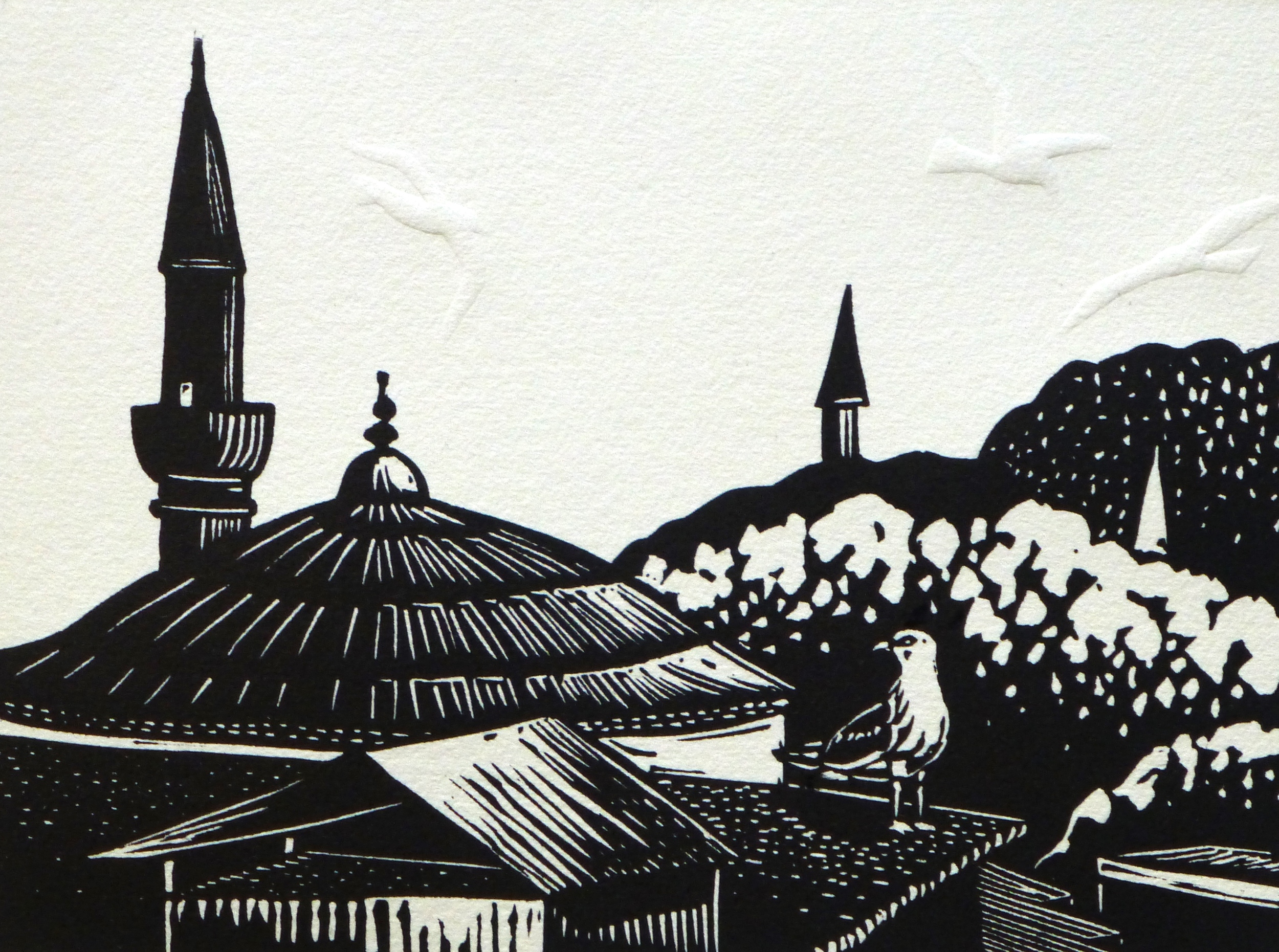 Minarets in Istanbul   Linocut with embossing, 2014  Edition of 8  Image size: 15 cm x 20 cm  Paper size: 30 cm x 34 cm  $100