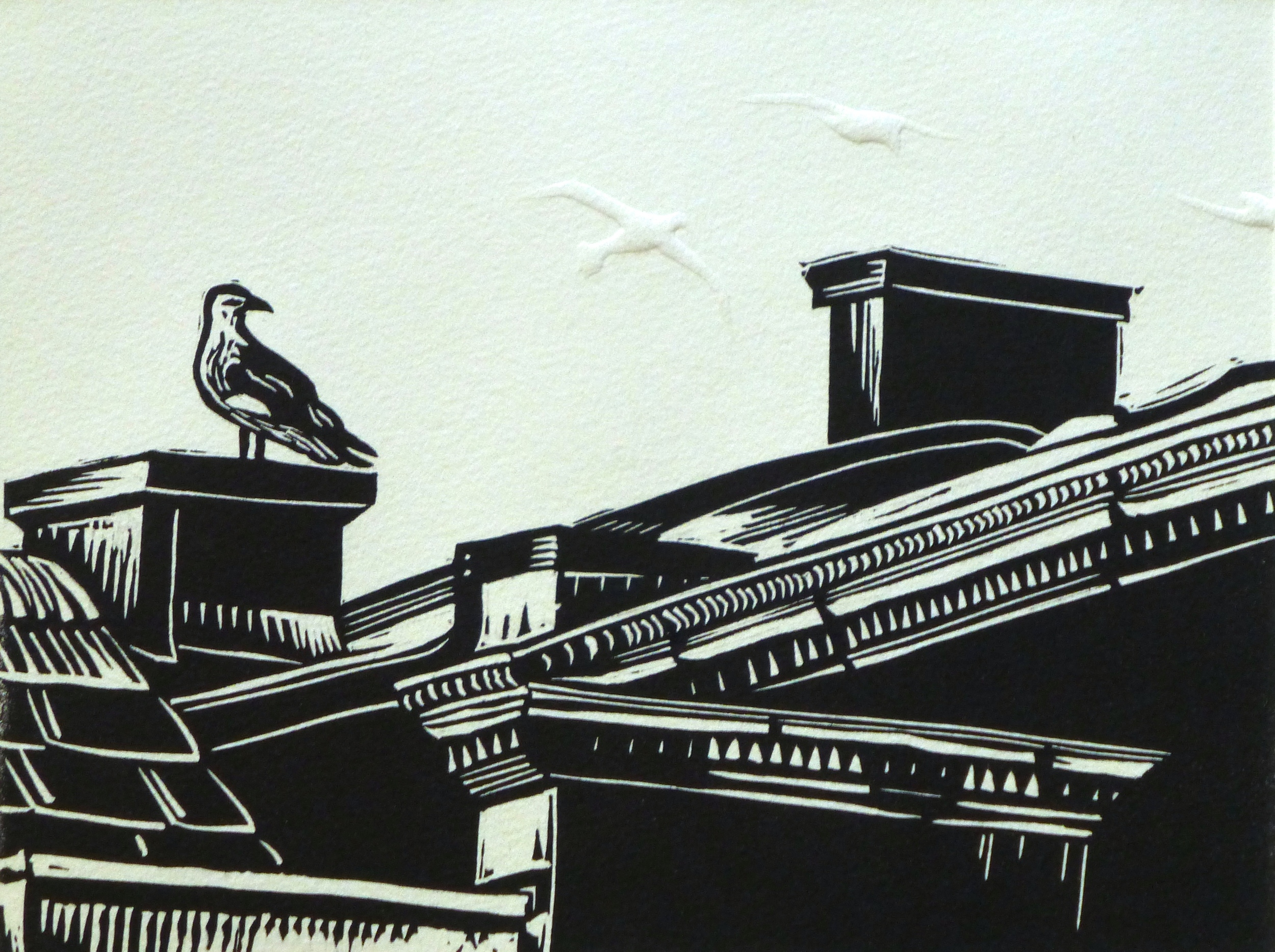 Bath Chimneys   Linocut with embossing, 2014  Edition of 8  Image size: 15 cm x 20 cm  Paper size: 30 cm x 34 cm  $100
