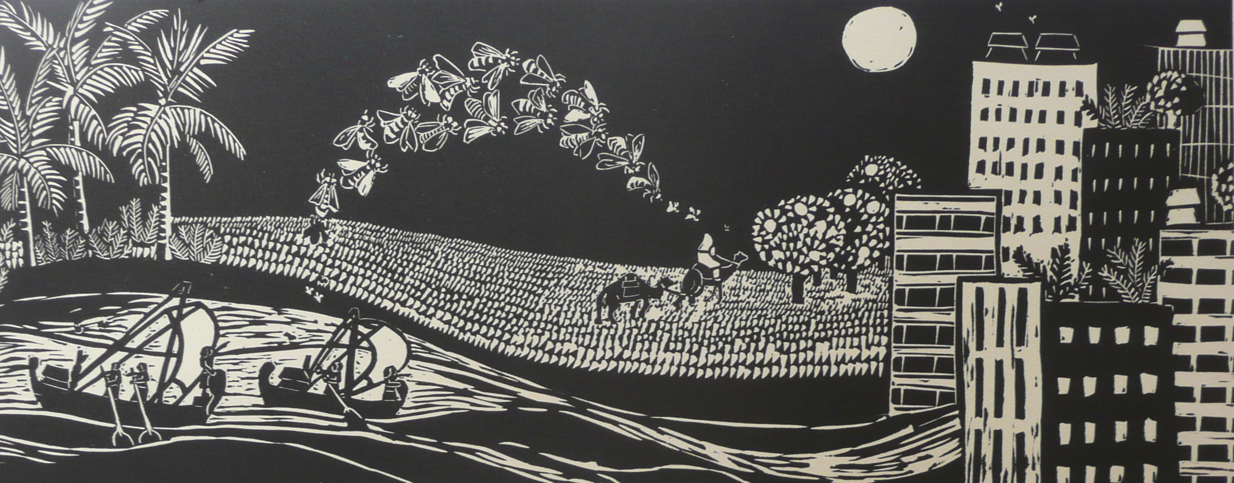 The Journey of Bees   Linocut, 2011  Edition of 2  Image size: 22 cm x 56.5 cm  SOLD OUT  Originally created as an artist book (edition of 10),   The Journey of Bees    was inspired by the relationship humans have had with bees over the centuries. In ancient Egypt, men would place the hives on boats and sail down the Nile to allow the bees exposure to different plants. Similarly, in Palestine the hives would be placed on the backs of camels and taken to orange groves at night. Although cities are growing and societies are becoming more insulated from the natural world, the placement of beehives on top of city buildings shows a return to surrounding ourselves and working with nature.