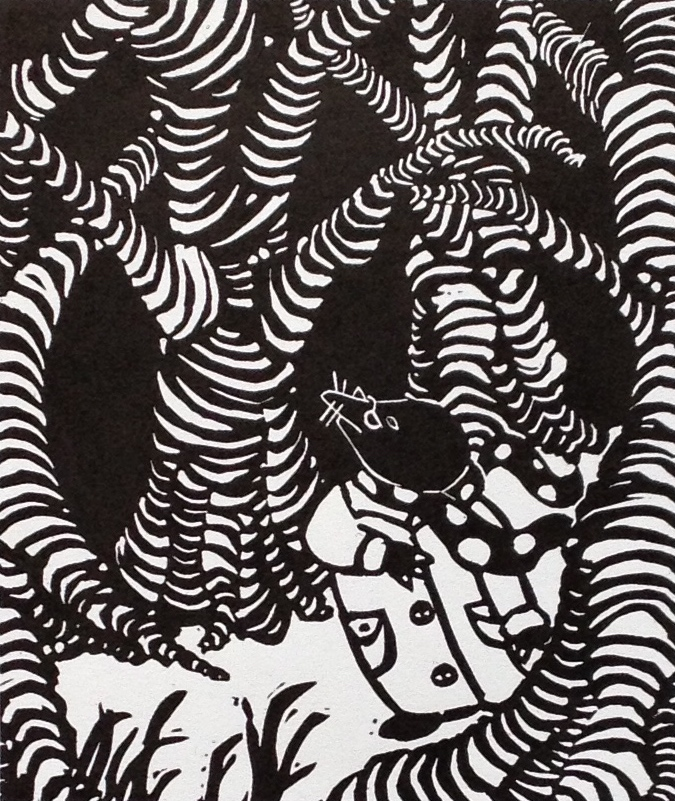 The Wild Woods   Linocut, 2011  Edition of 4  Image size: 14 cm x 12 cm  Paper size: 24 cm x 19 cm  $75