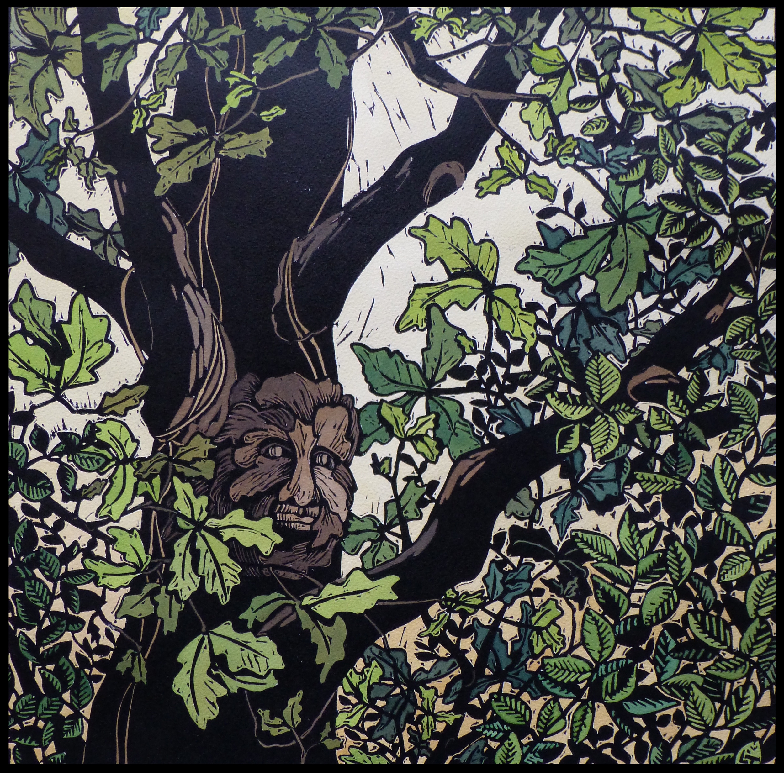 """The Green Man   Hand coloured linocut, 2013  Edition of 6  Image size: 42 cm x 43 cm  Paper size: 56 cm x 76 cm  $350                      Normal   0           false   false   false     EN-AU   JA   X-NONE                                                                                                                                                                                                                                                                                                                                                                            /* Style Definitions */ table.MsoNormalTable {mso-style-name:""""Table Normal""""; mso-tstyle-rowband-size:0; mso-tstyle-colband-size:0; mso-style-noshow:yes; mso-style-priority:99; mso-style-parent:""""""""; mso-padding-alt:0cm 5.4pt 0cm 5.4pt; mso-para-margin:0cm; mso-para-margin-bottom:.0001pt; mso-pagination:widow-orphan; font-size:10.0pt; font-family:""""Times New Roman"""";}         A green man is a sculpture or drawing of a face surrounded by or made from leaves and foliage. The idea has appeared in many ancient cultures and is generally interpreted as a symbol of rebirth. This green man has been carved into a knot on an oak tree."""