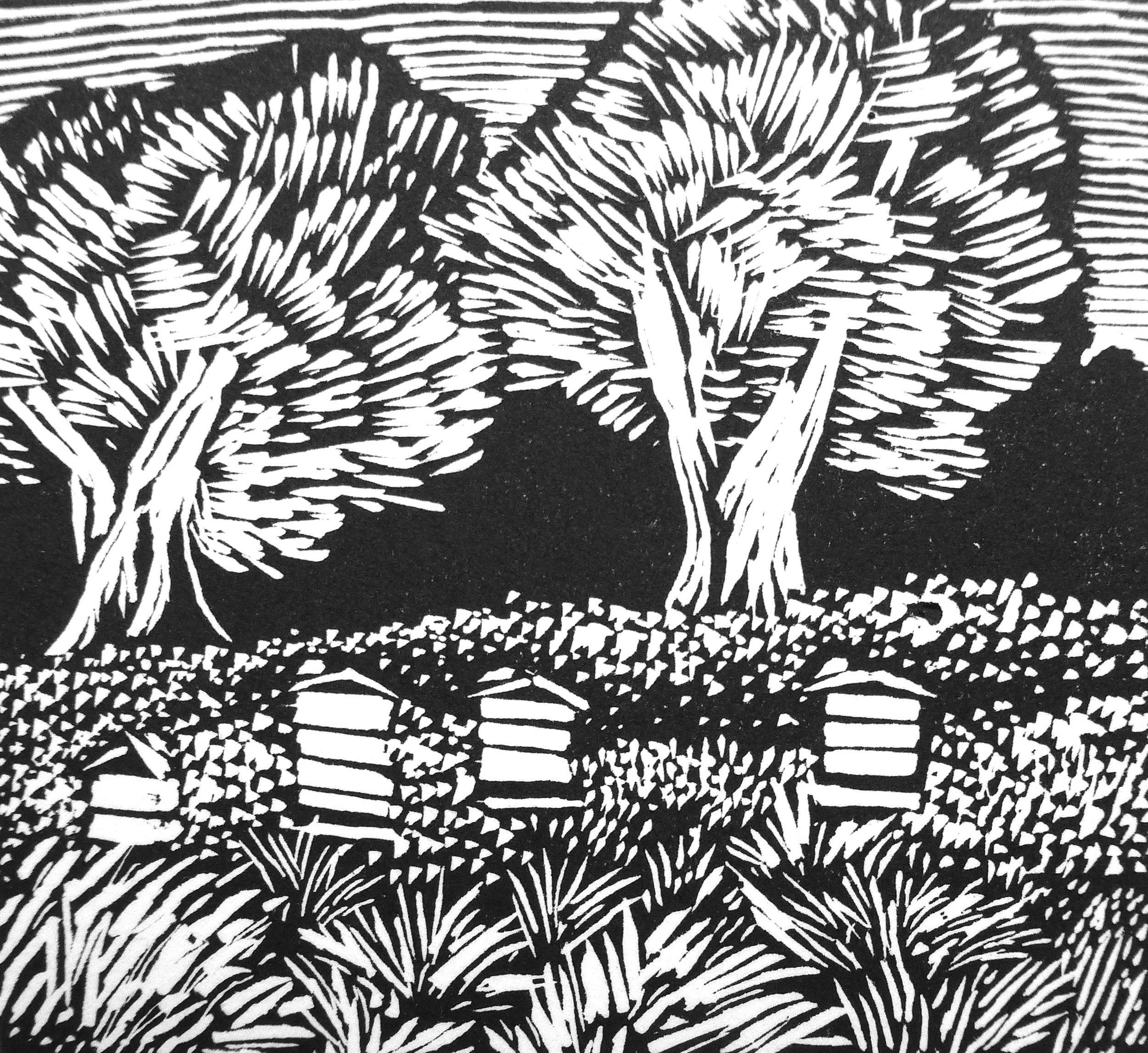Beehives at Hidcote   Engraving, 2014  Edition of 4  Image size: 6.5 cm x 7 cm  Paper size: 20 cm x 15 cm  SOLD OUT