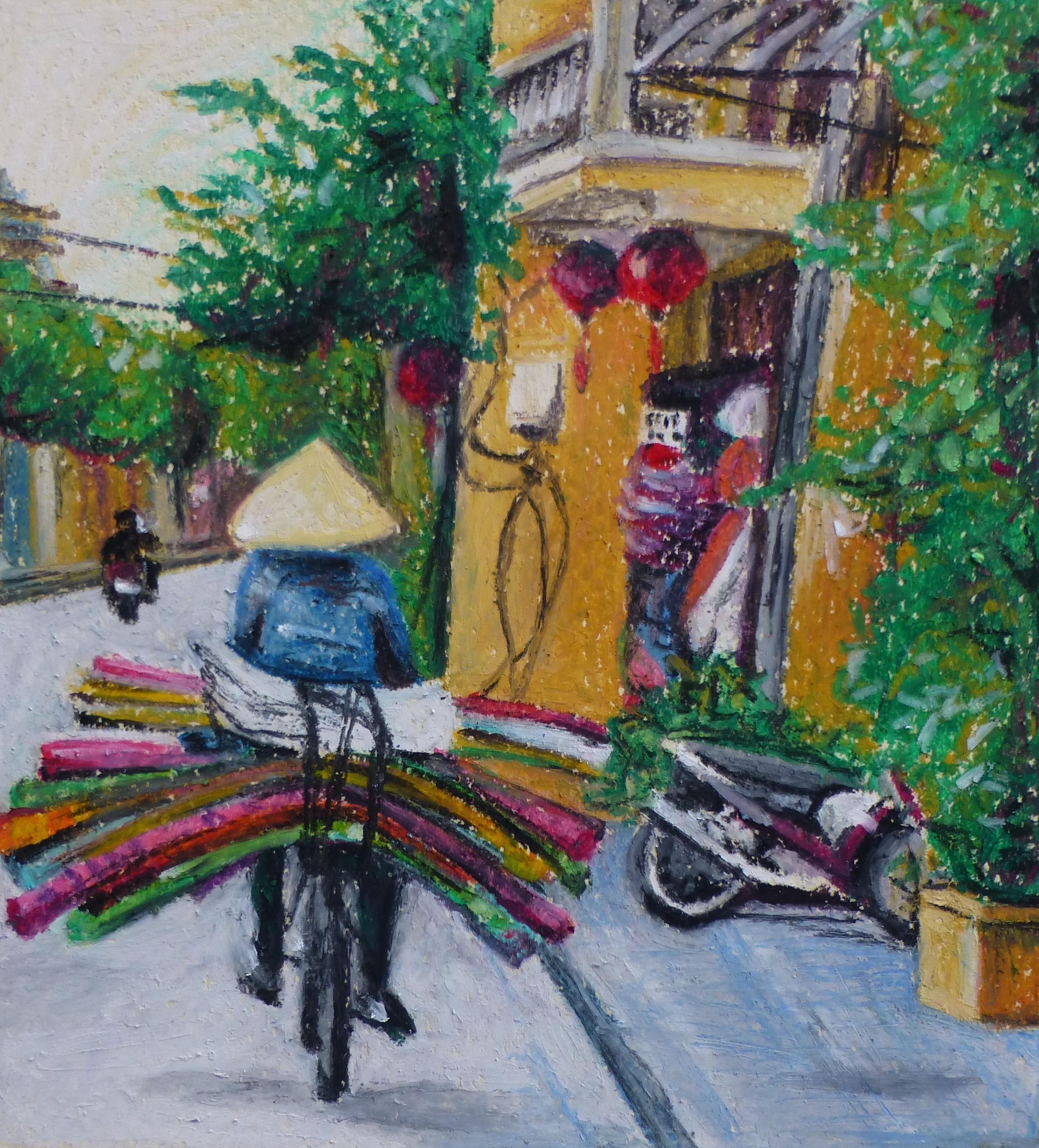 Man on Bike, Vietnam   Oil pastel, 2015  Image size: 16.5cm x 15cm  Sold