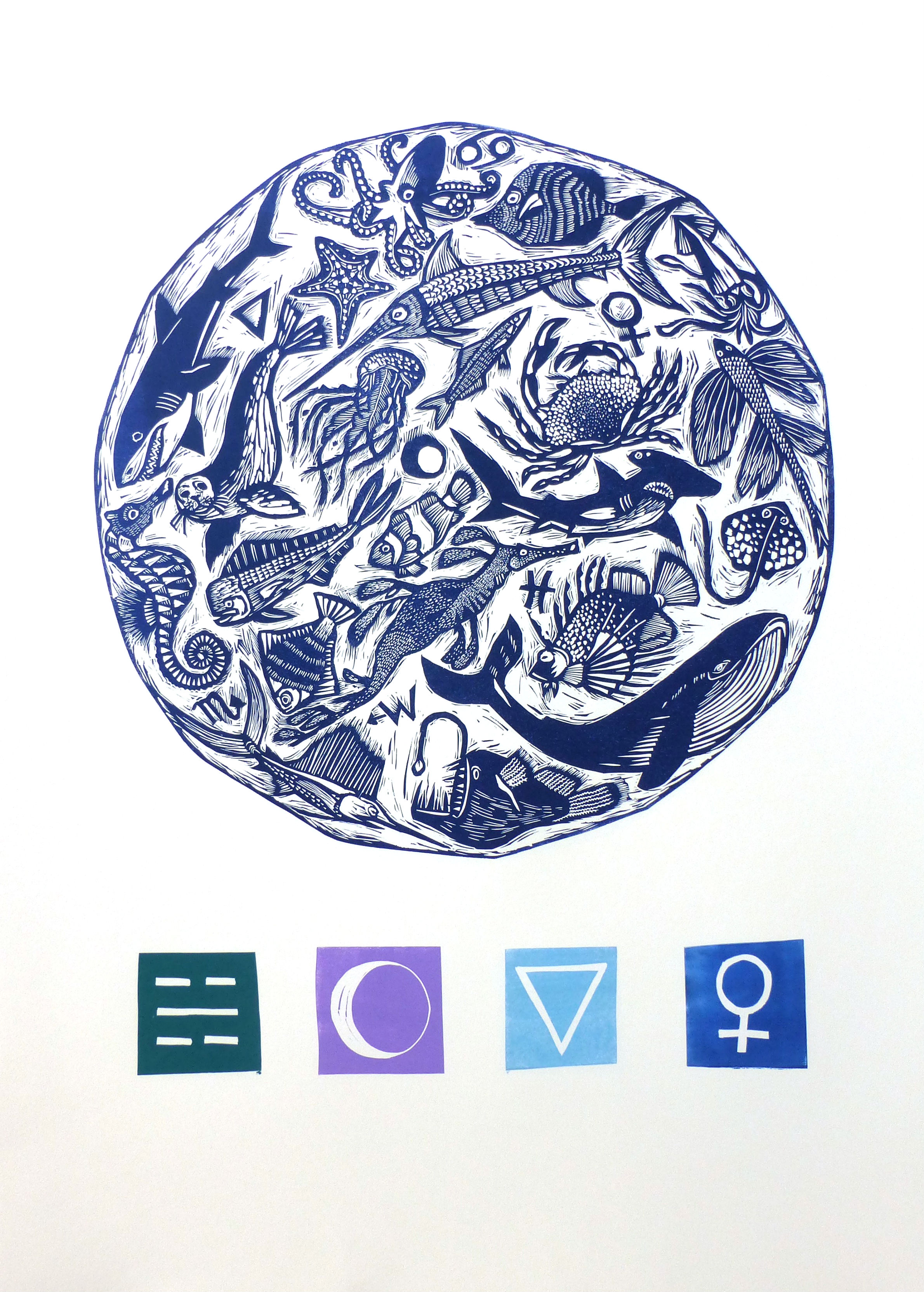 Element IV   Linocut, 2017 - Edition of 10  Paper size: 76 cm x 56 cm  $300  The idea that the world around us is made up of four different elements – earth, fire, air and water – can be found in many cultures. Ancient Greeks believed that the elements were the building blocks of the universe, and by understanding the elements they could understand not just their surrounds but people themselves. At a time when science was entwined with philosophy, mythology and religion, symbols were constructed to represent these elements. The four elements also came to be individually associated with many other things including the various phases of the moon, the different seasons, cardinal directions, astrological signs and colours.