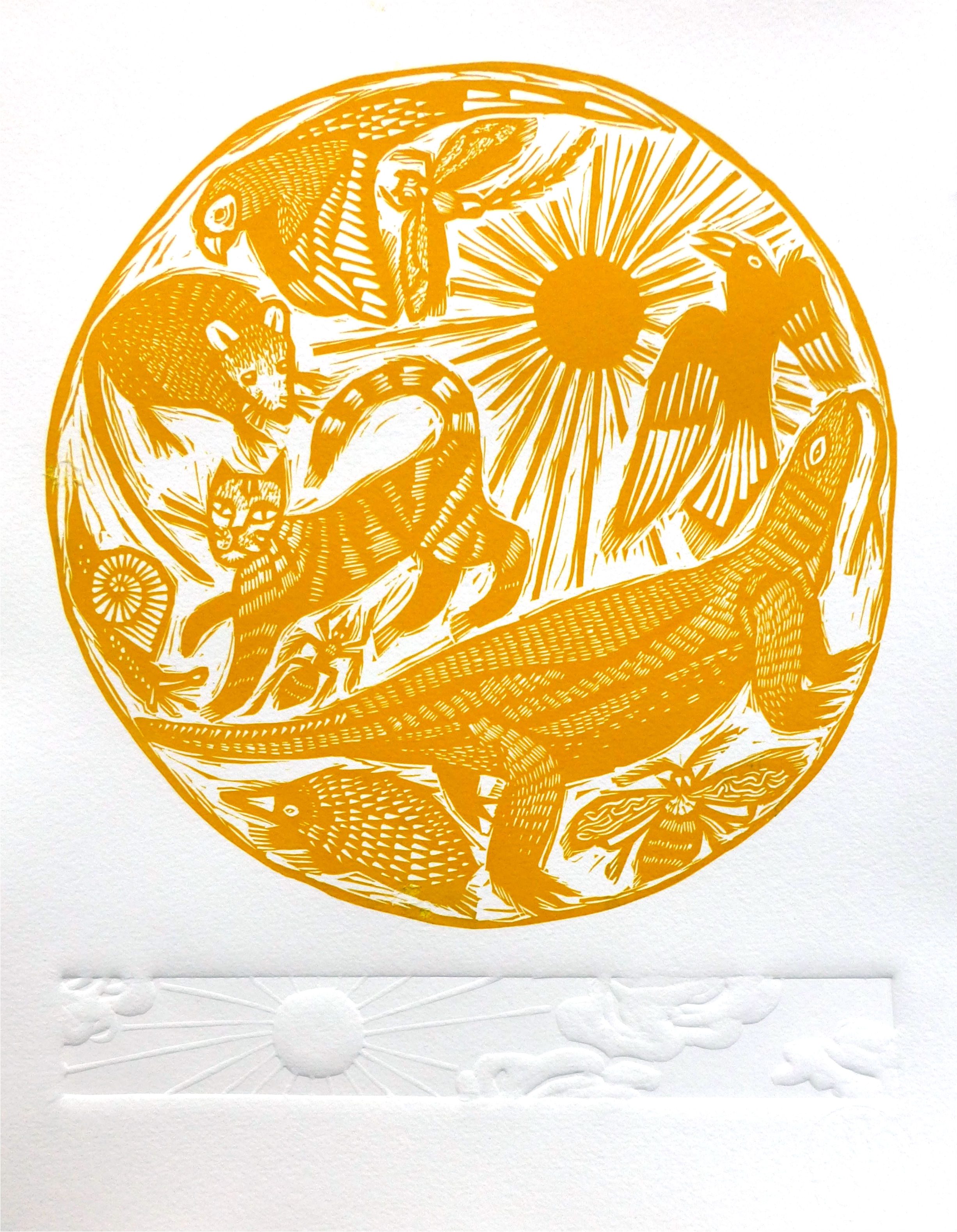 Creatures of the Day   Linocut with embossing, 2017  Edition of 20  Paper size: 35 cm x 28 cm  $100