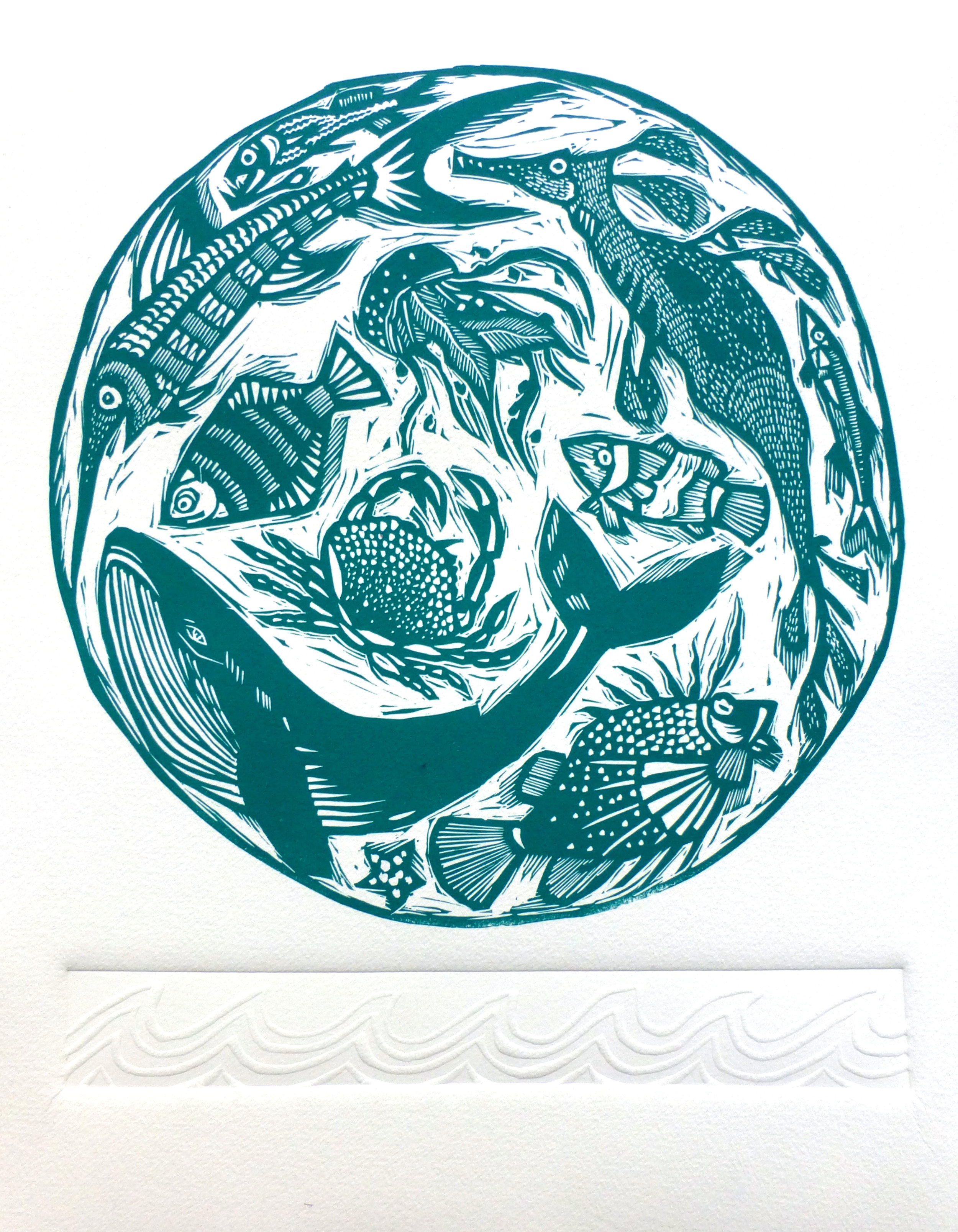 Creatures of the Deep   Linocut with embossing, 2017  Edition of 20  Paper size: 35 cm x 28 cm  $100