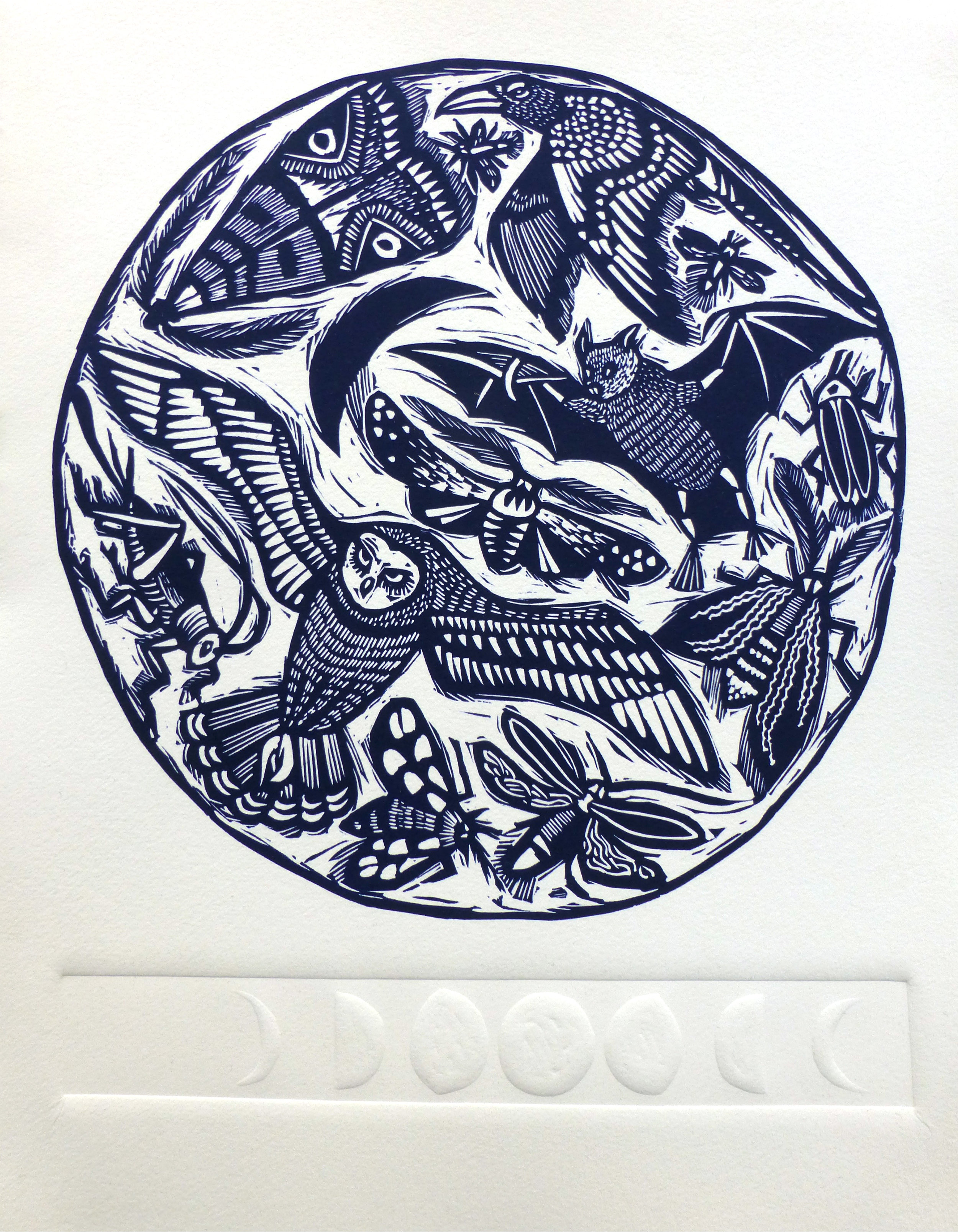 Creatures of the Night   Linocut with embossing, 2017  Edition of 20  Paper size: 35 cm x 28 cm  $100