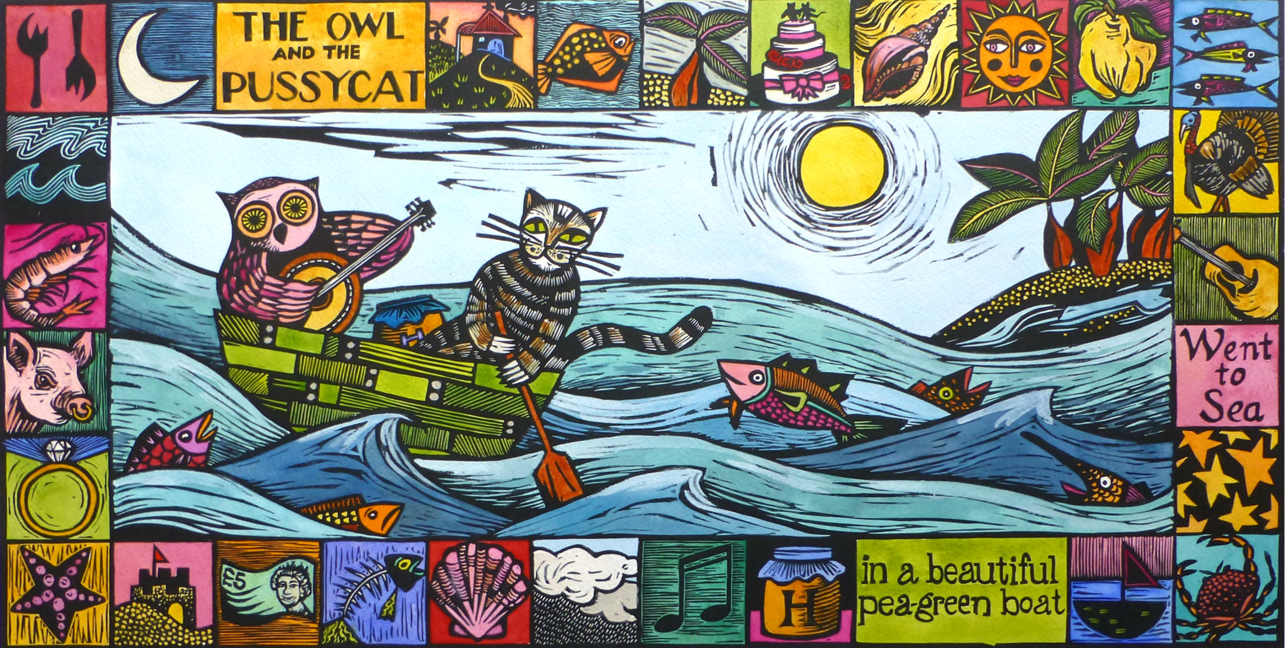 The Owl and the Pussycat   Hand coloured linocut, 2017  Edition of 15  Image size: 61 cm x 31 cm  Paper size: 76 cm x 43 cm  $300