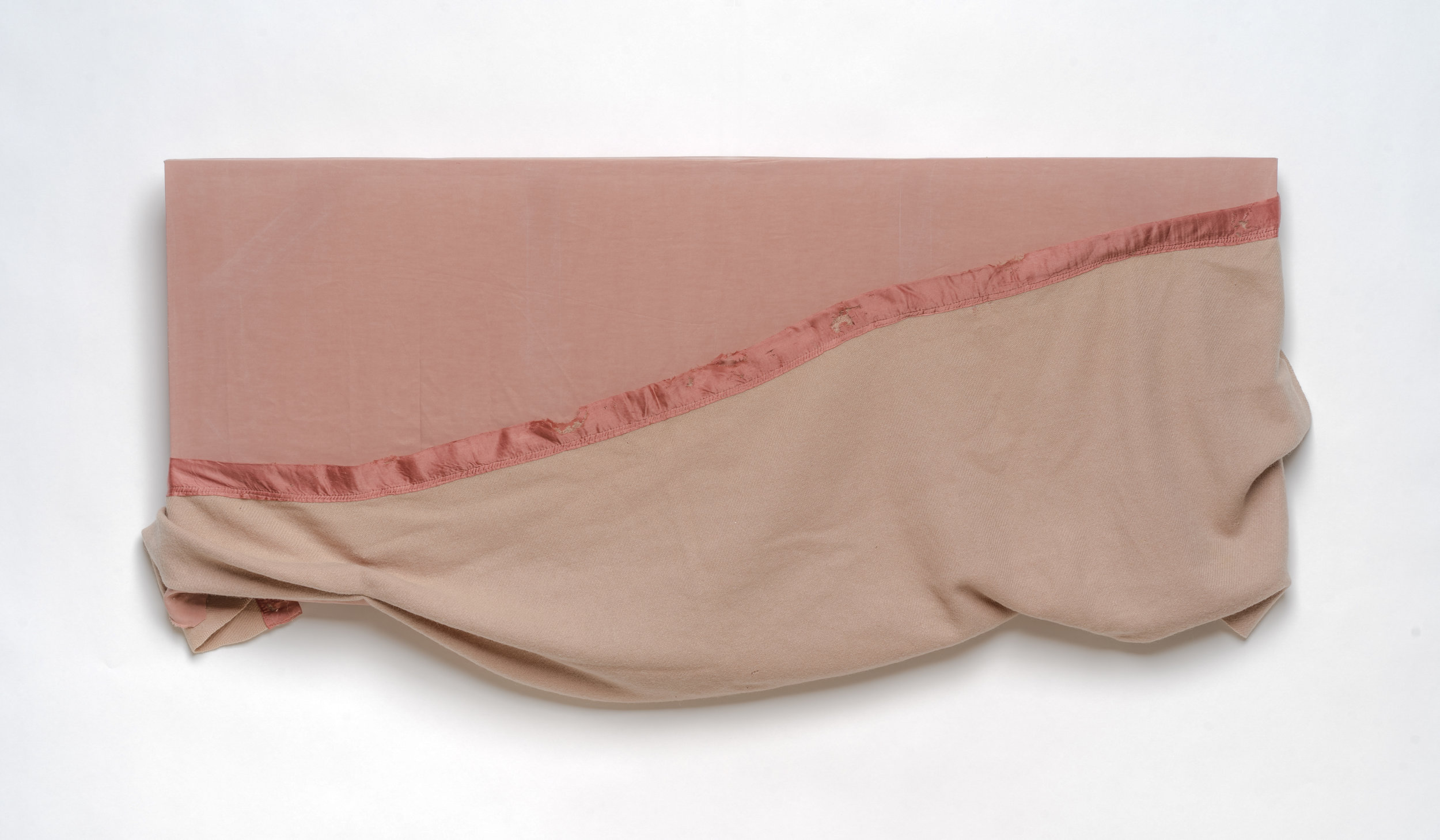 Cover-up   2019 Inherited blanket and sheet over stretcher bars 25 in. x 52 in.