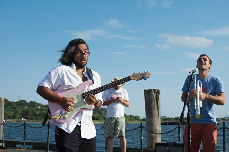 Peter performing at the 2014 Rhode Island Seafood Festival with the Clyde Lawrence band, courtesy of Peter Enriquez