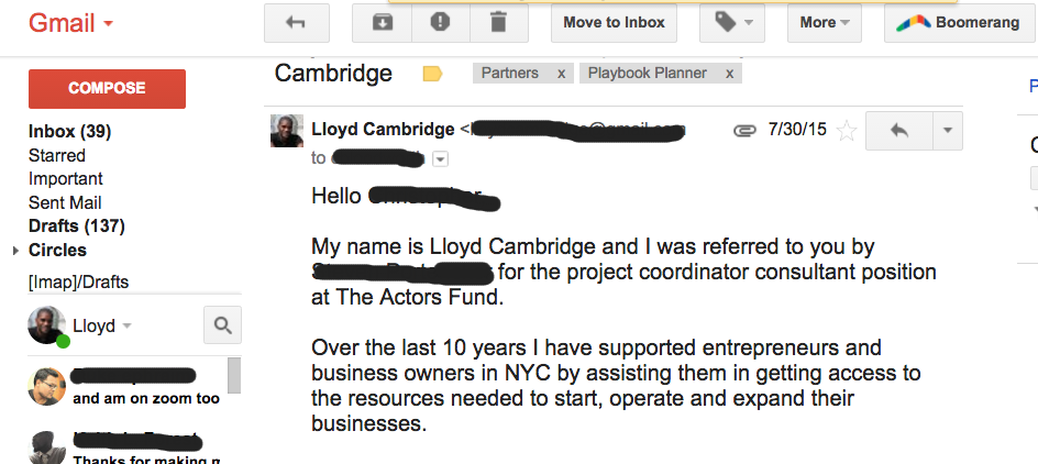 (Snippet of my first email to the Actors Fund)