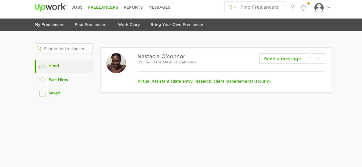 (My new virtual assistant via Upwork)