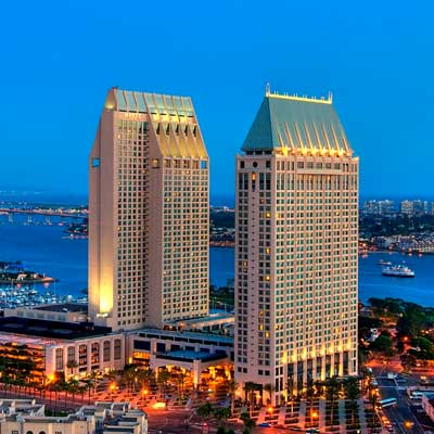 The Manchester Hyatt looms over the San Diego skyline.