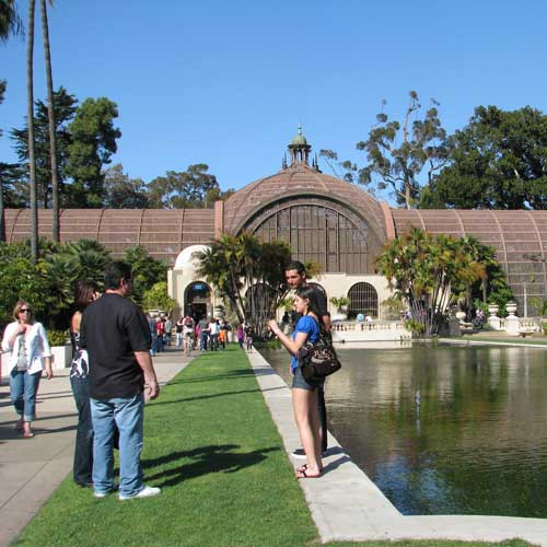 Botanical gardens and ponds at Balboa Park