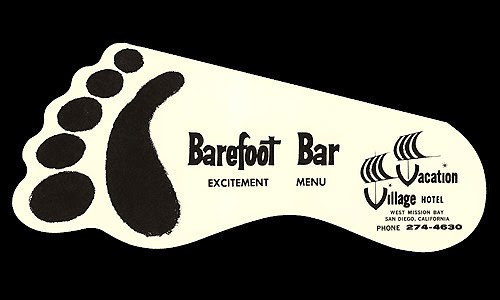 Vintage Barefoot Bar logo from Paradise Point Resort.
