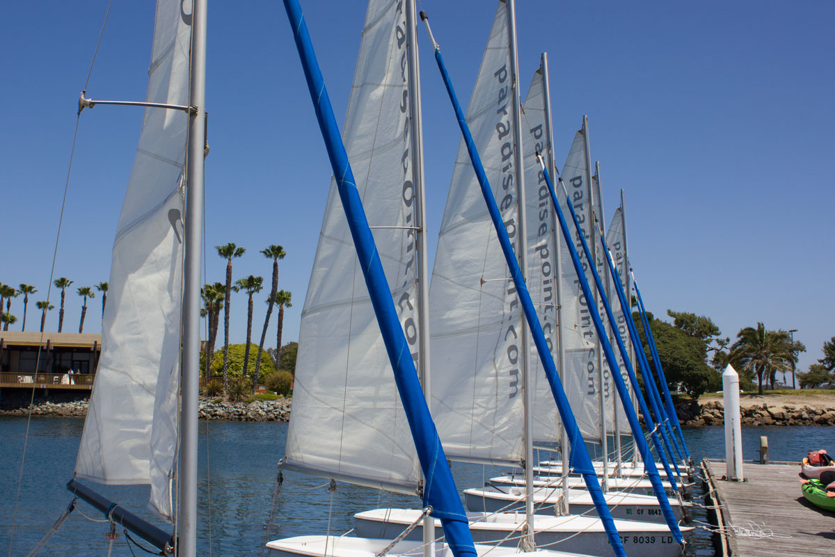 Rent a sailboat for an afternoon of gentle sailing on the calm waters at Paradise Point.